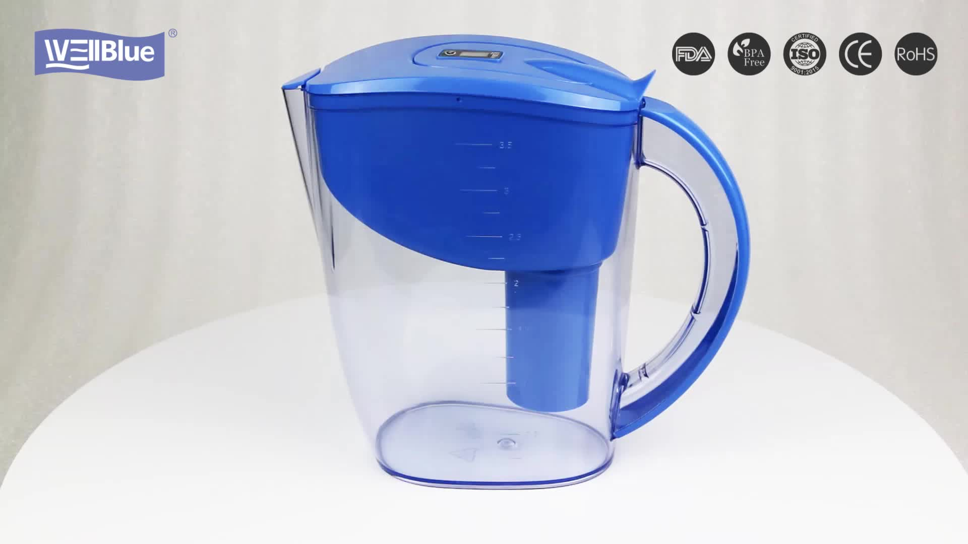 Wellblue 3.5L BPA free plastic alkaline water pitcher filter systems with alkaline filter