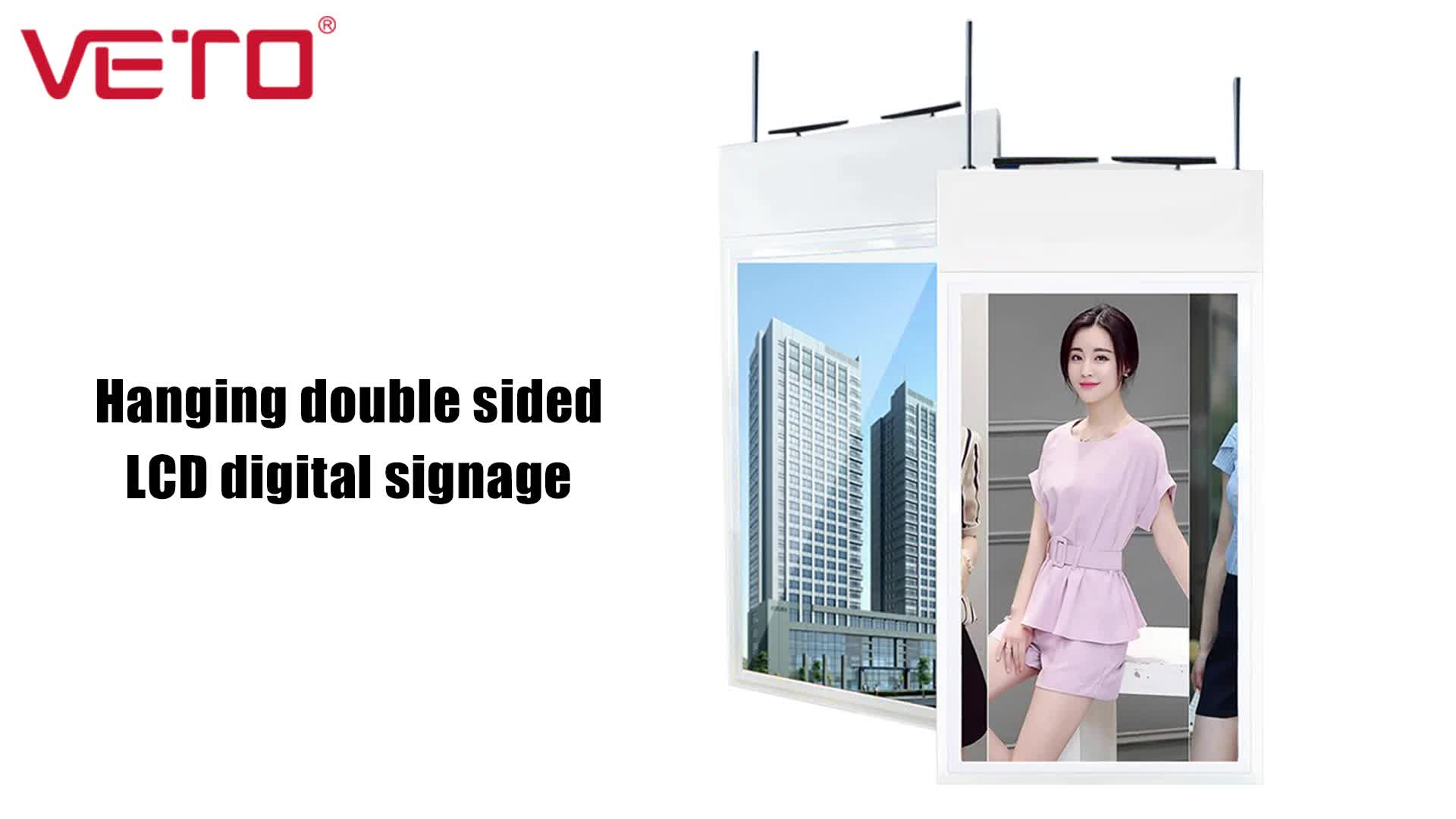 43 inch hanging dual screen high brightness lcd ad video player