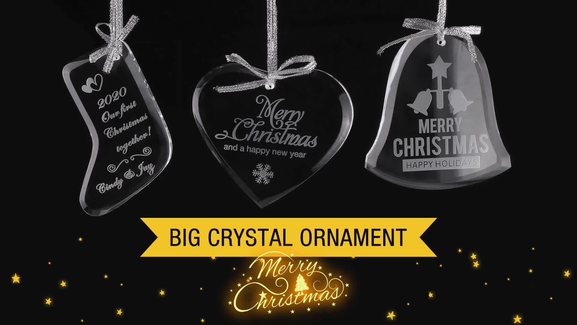CUSTOM CUSTOM แก้วแขวนเครื่องประดับคริสตัลสำหรับตกแต่งคริสต์มาส