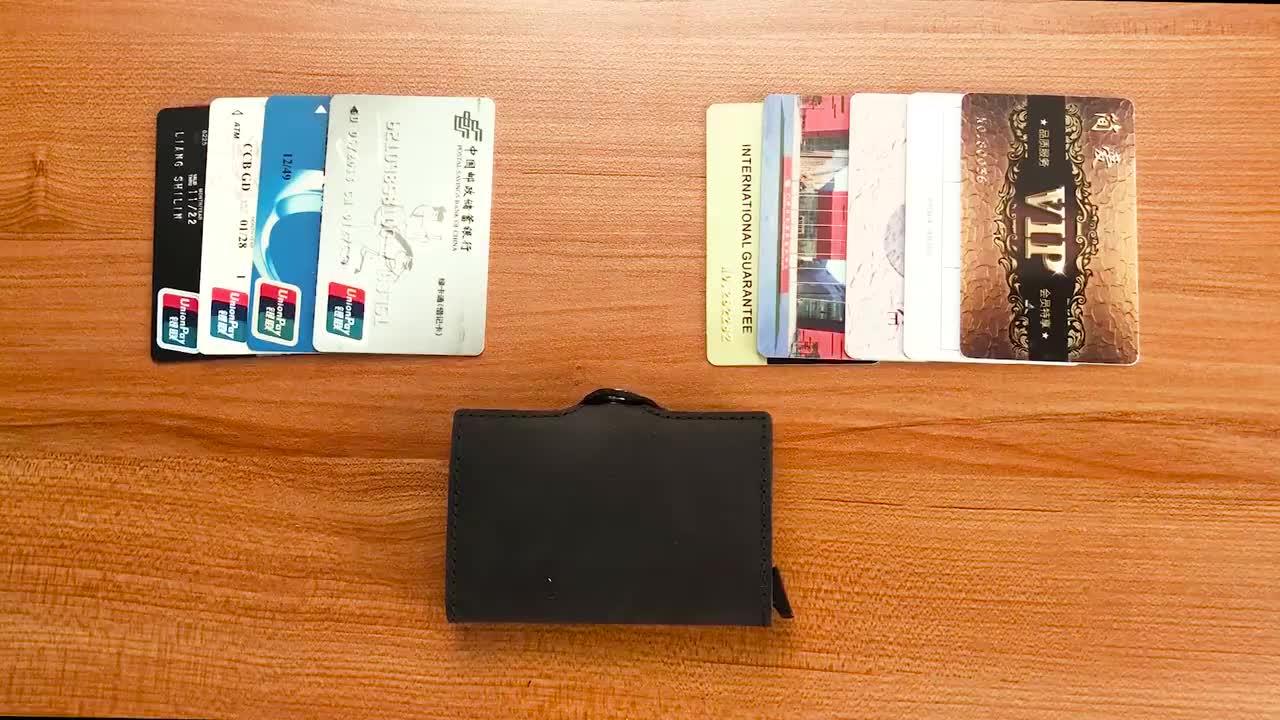 Tarjetero automático de Metal y aluminio para hombre, billetera con bloqueo RFID delgada de cuero genuino Vintage