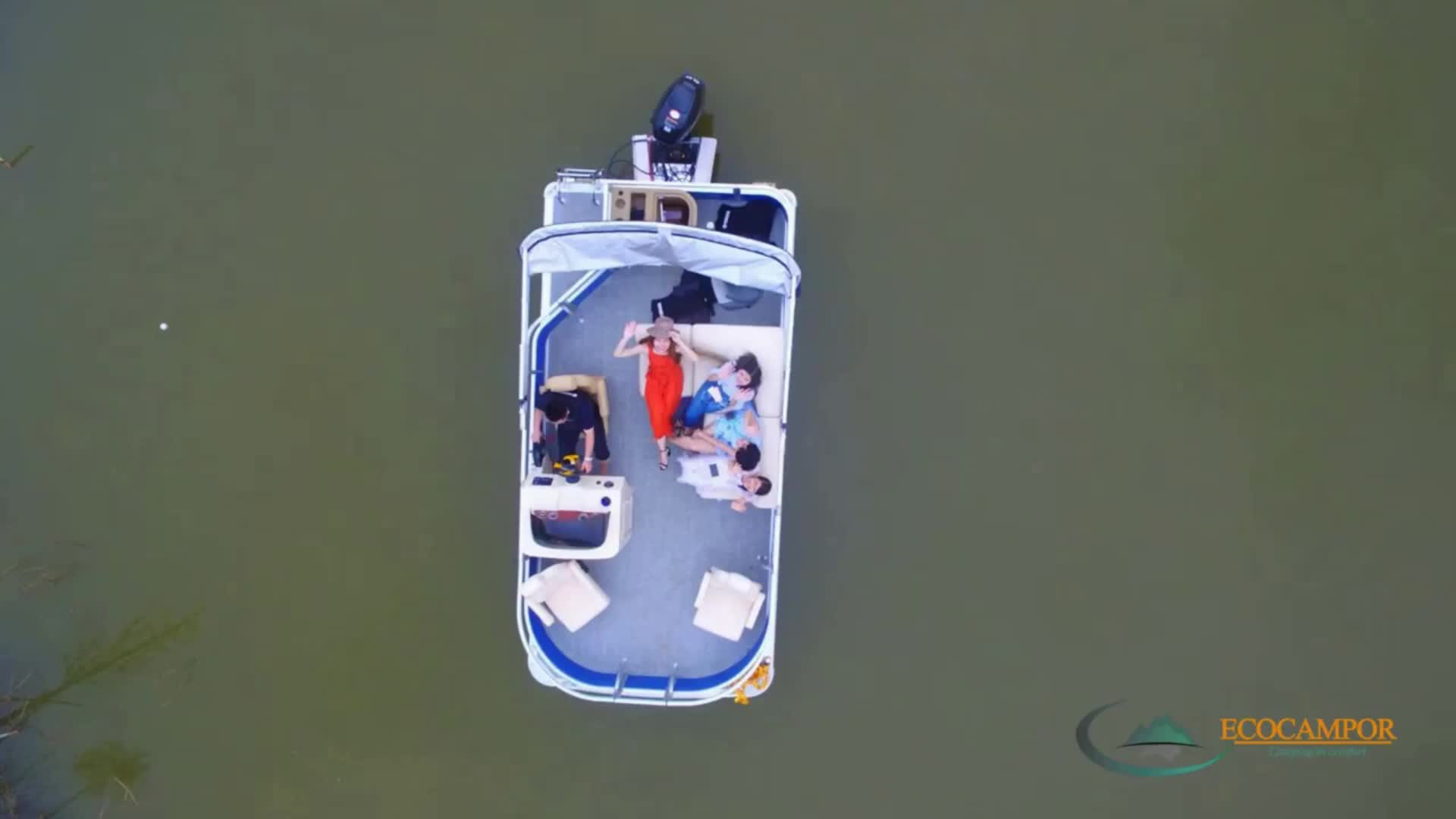ECOCAMPOR China manufacturer Luxury Inflatable Aluminum fishing Electric Catamaran Pontoon Boat wholesale (4 person, 2 person)