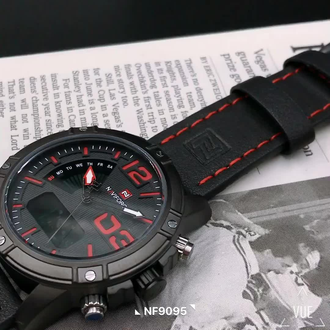 Naviforce 9095 relogio inteligente relojes digital  fashion sport  waterproof Luxury band Double Display army military watches