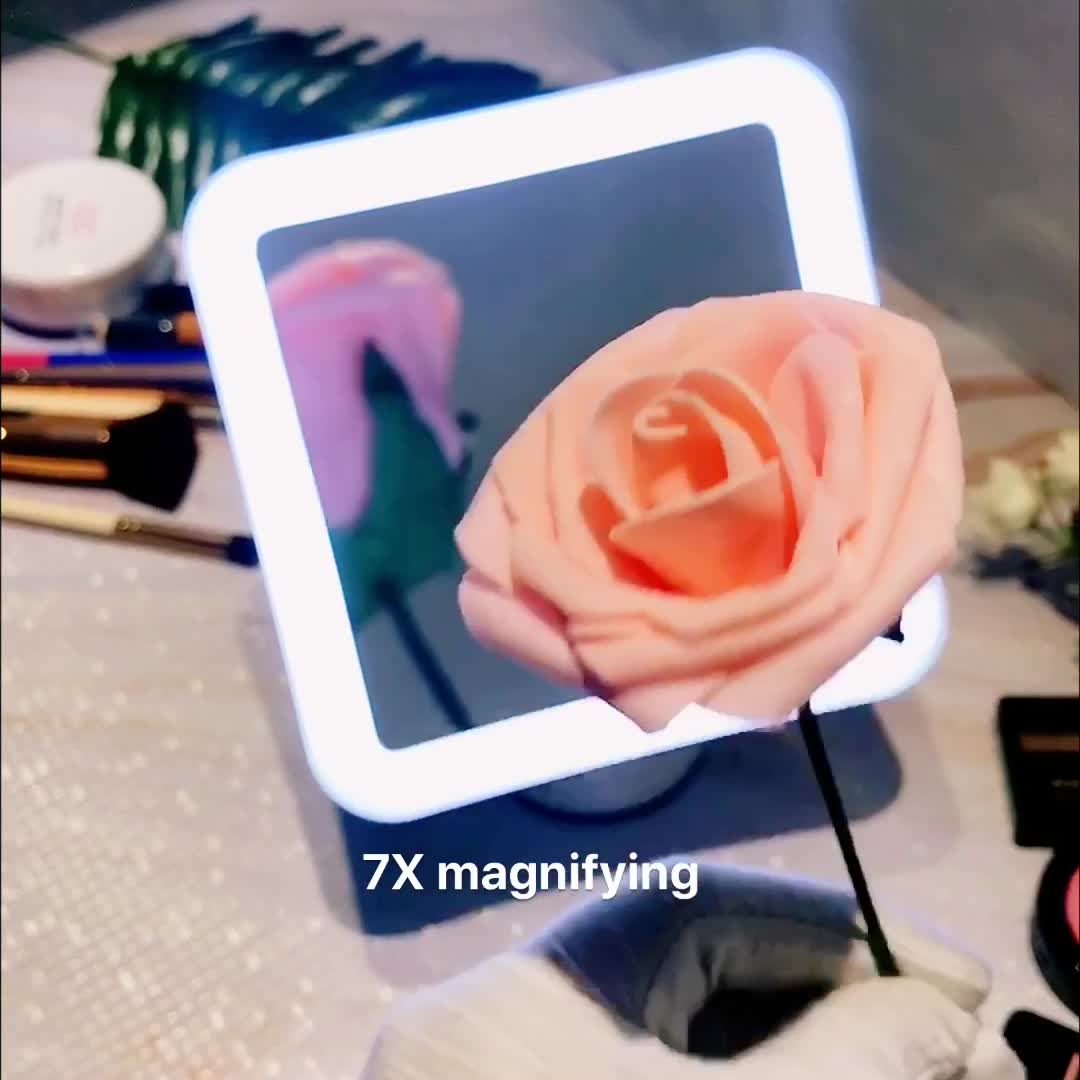 Square led lighted vanity mirror with lights 360 degree rotation 10X magnifying