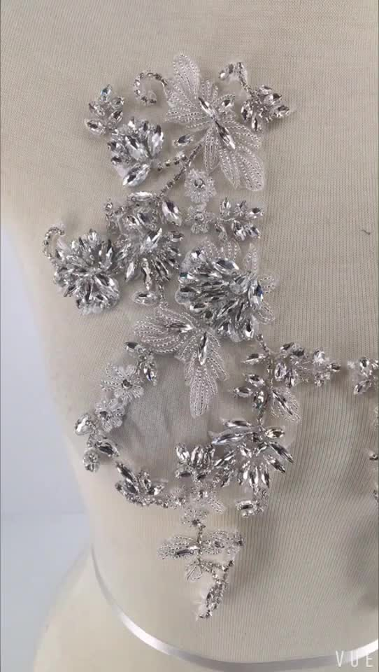 Hot sell delicate high quality custom ab rhinestone applique diamond rhinestone applique
