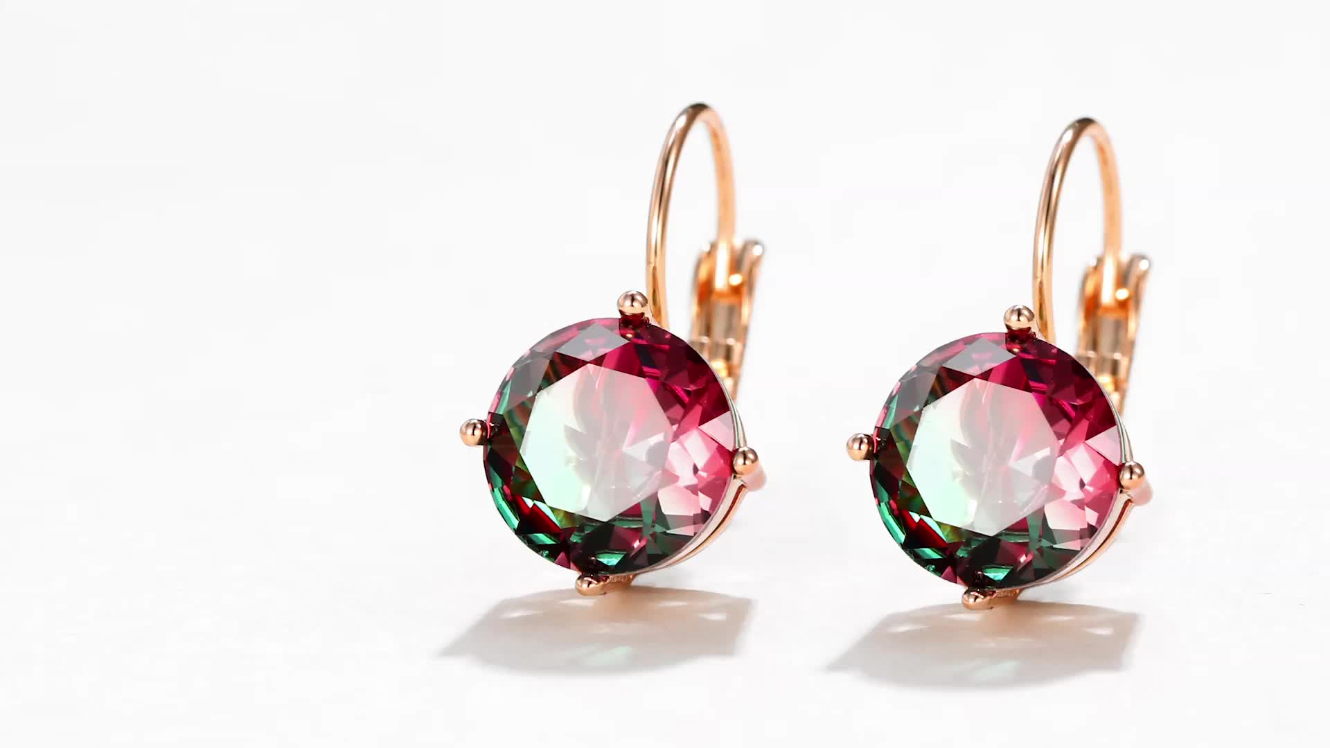 98240 xuping elegant multi-stone earring, latest design ,rose gold plated Love with  infinite shape earring jewelry