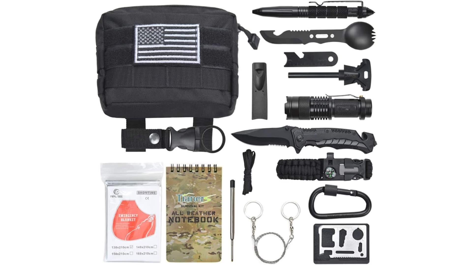 Kit de survie équipement d'urgence 18 en 1 | Kit de Camping extérieur, fournitures Sos Edc Kit de survie
