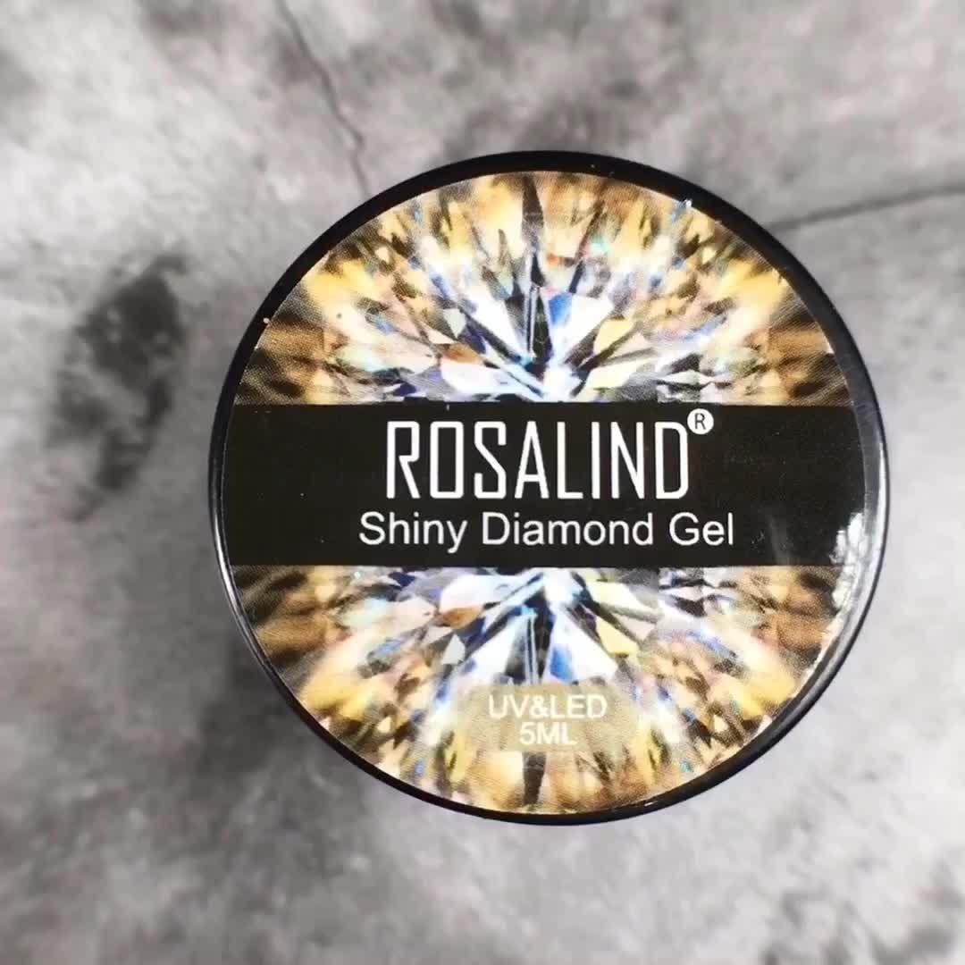 Rosalind neue ankunft private label 5ml glänzenden diamant gel tränken weg semi permanent uv gel nagellack für großhandel