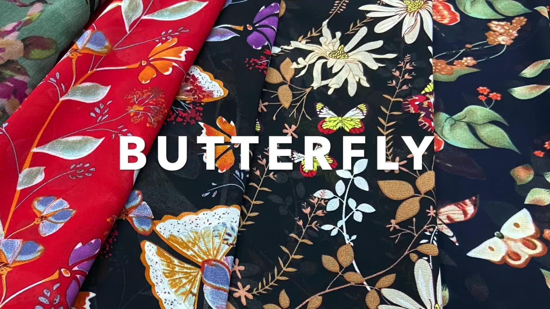 WI-E03 цифровая печать с принтом бабочек на ощупь как шелковые Полиэстеровая стрейчевая атласная ткань для абайя