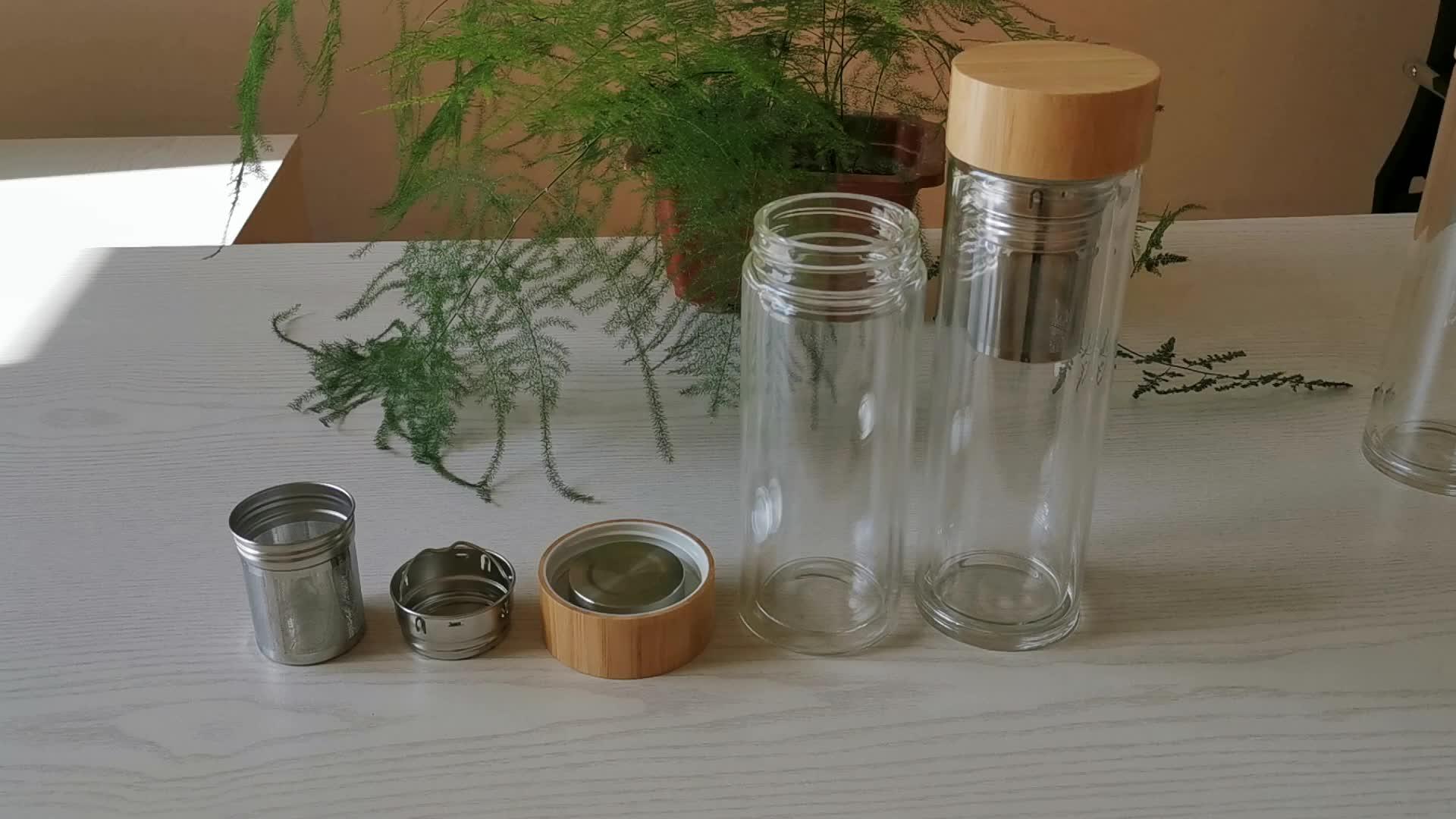 custom logo bamboo lid glass water bottle outdoor sports glass water bottle double wall insulated tea infuser water bottles