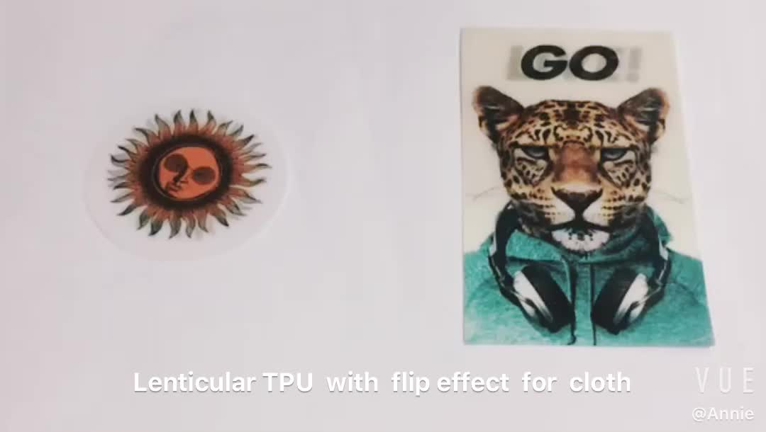 3d lenticular TPU / PVC for T-shirt textile or cloth soft pvc lenticular sheet flip effect