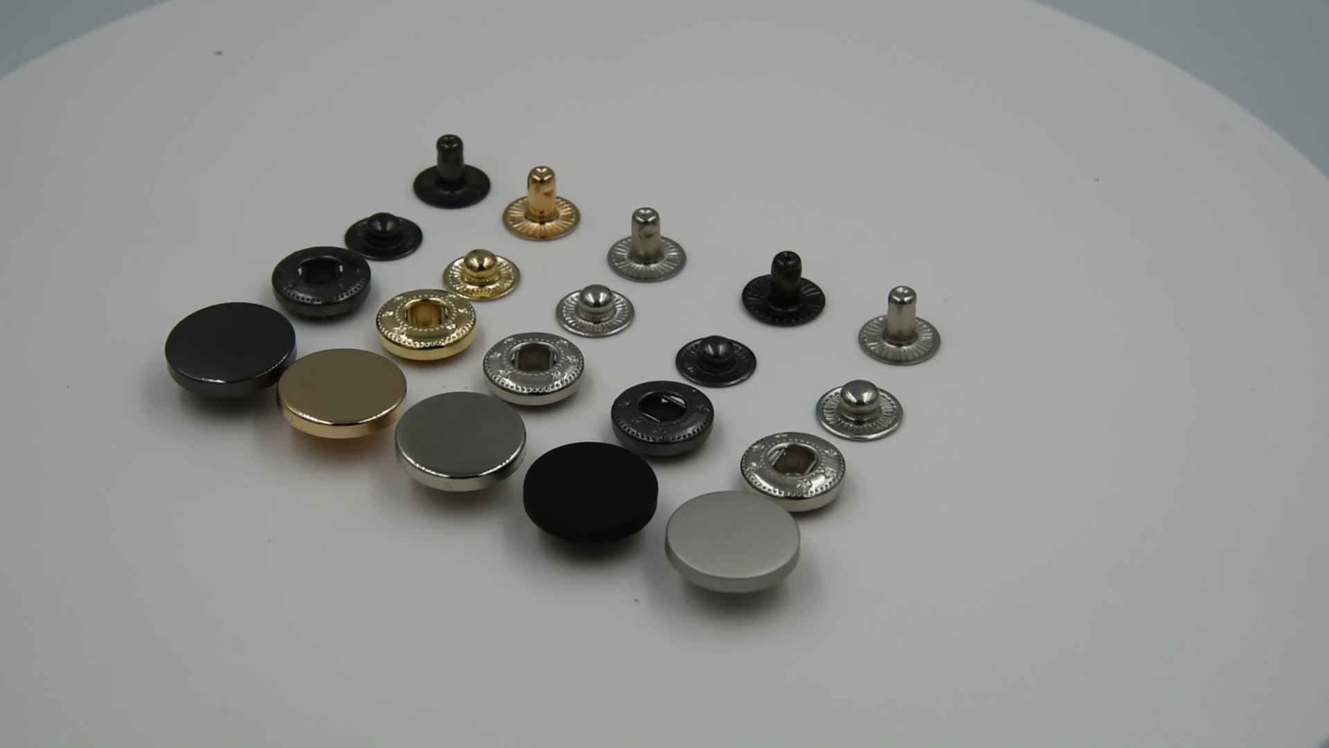 OEM Custom Color four parts 12.5MM 15mm 17mm 20mm 22mm 25mm Cap Jacket Bags 4 Part Press Metal Snap Button for clothes