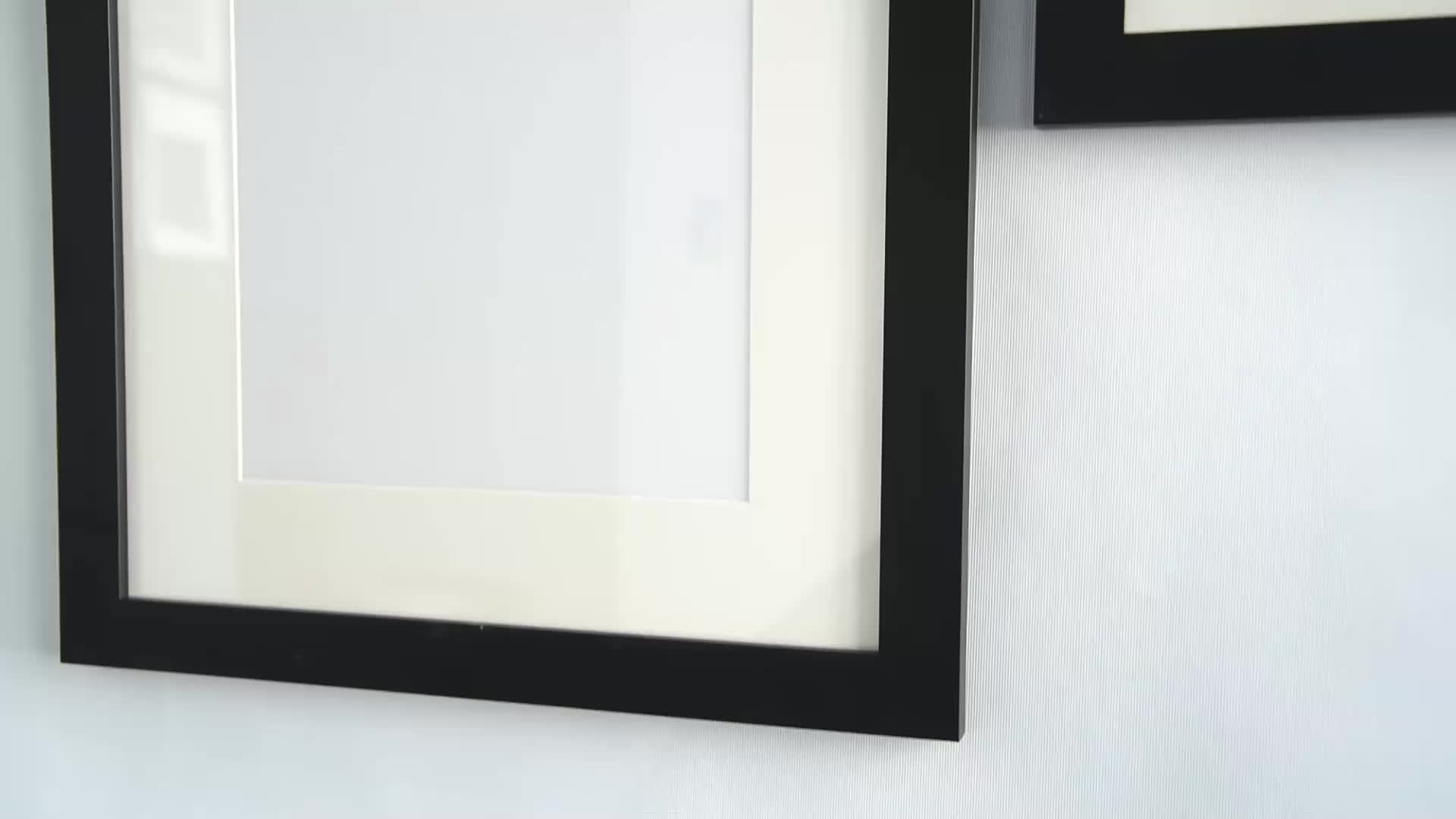 London style medium size modern wall hanging plastic black picture frame for living room decor