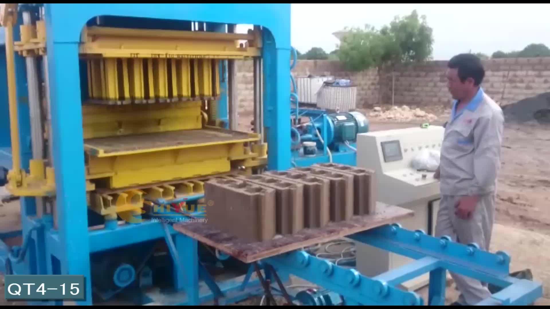 QT4-15 full automatic cement brick block moulding plant