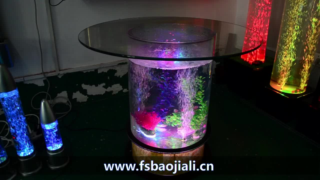 LED acrylic light water bubble decor round fish tank dining table