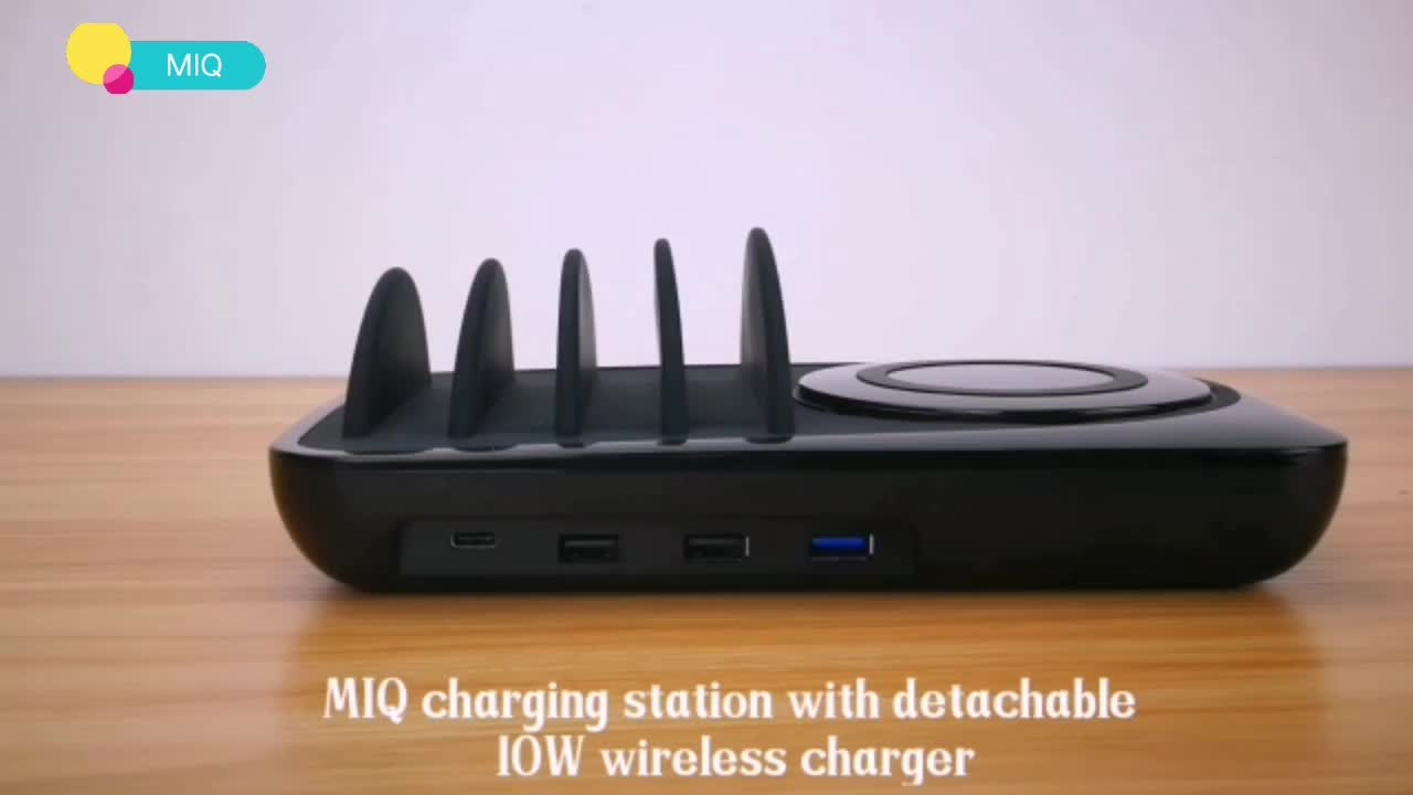MIQ 2019 power Charger QC 3.0 multi port USB Desktop 3+1 charging station with wireless charger
