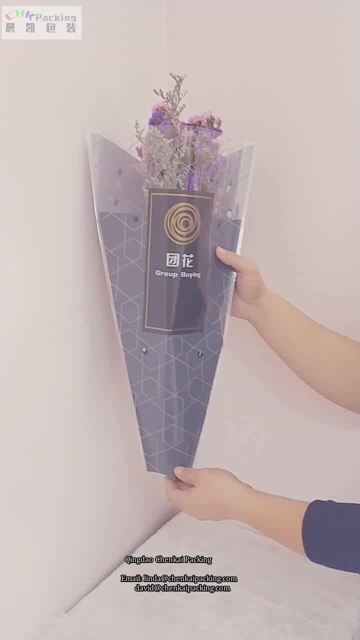 Şeffaf özel bopp plastik baskılı pot taze çiçek taze buket hava deliği ile selofan kol çantaları