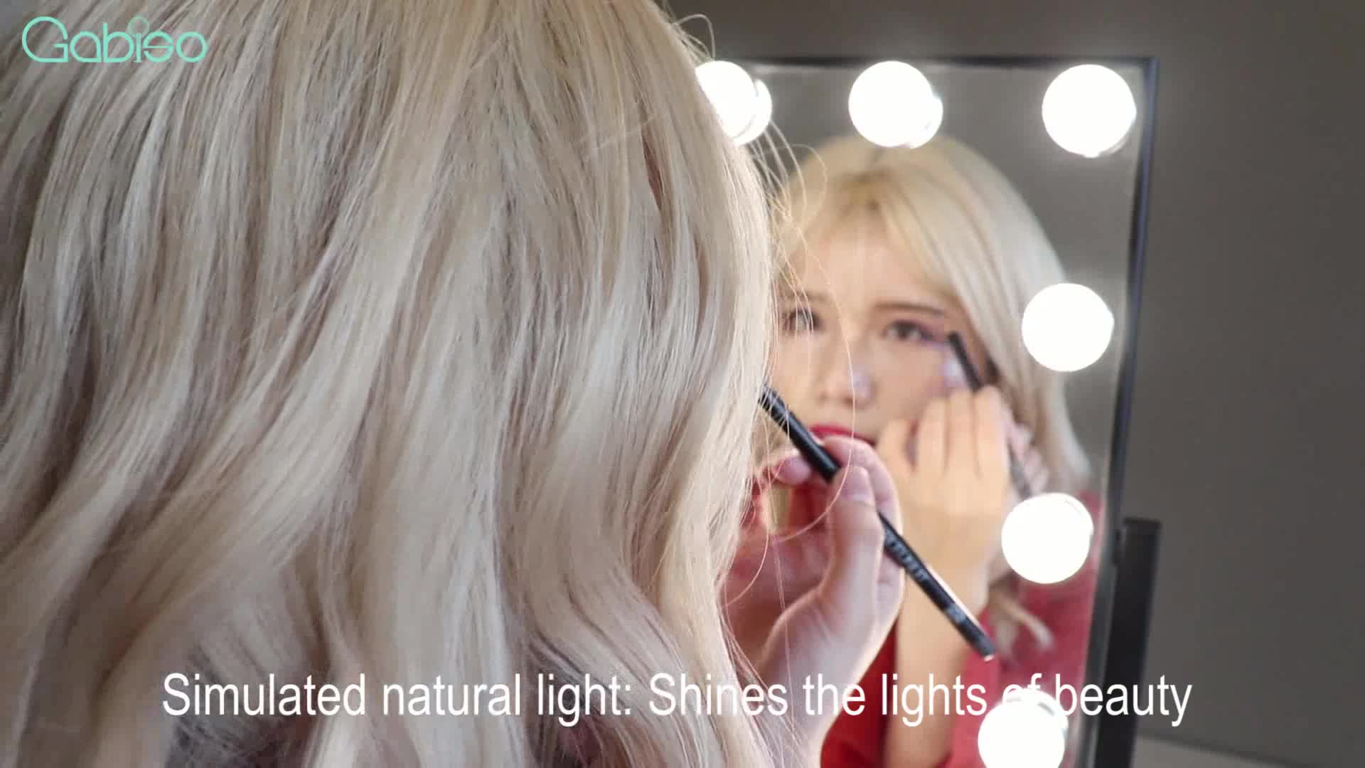 Ebay Hot Sale Desktop 15 Bulbs Hollywood Mirror Product Makeup Mirror With Lights Standing Mirror With Lights