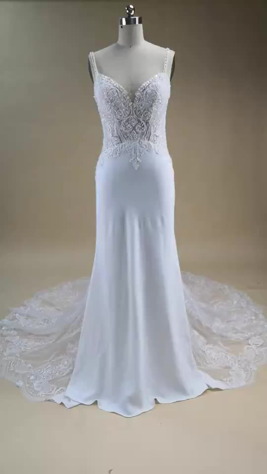 Real Photos Lace Bridal gowns Deep V neck spaghetti strap mermaid sexy Low back wedding dress