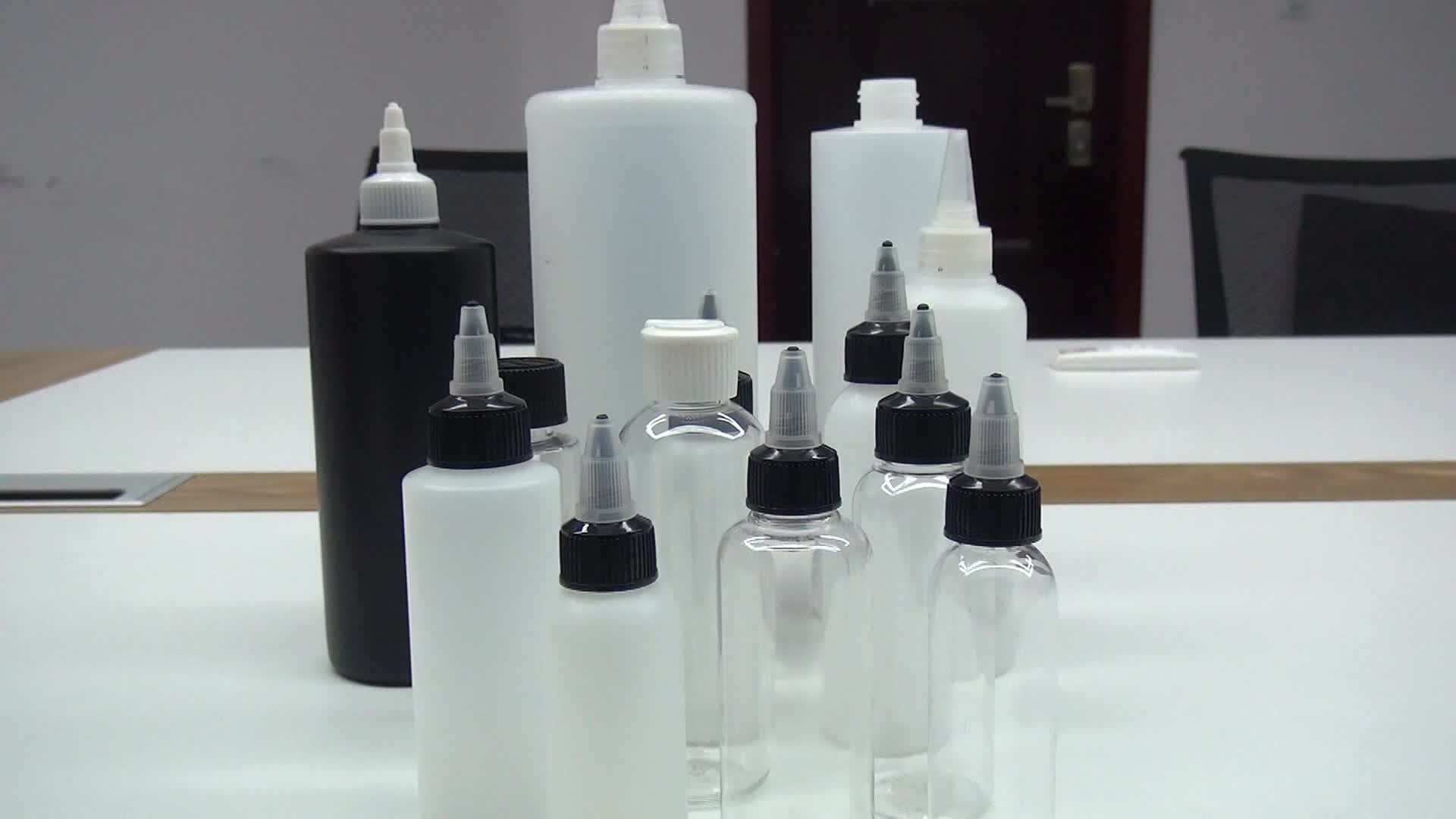 PE / PET Squeeze-Kunststoff-Tropfflasche mit Drehverschlusskappe 30ml 60ml 100ml 120ml 250ml 500ml 1000ml
