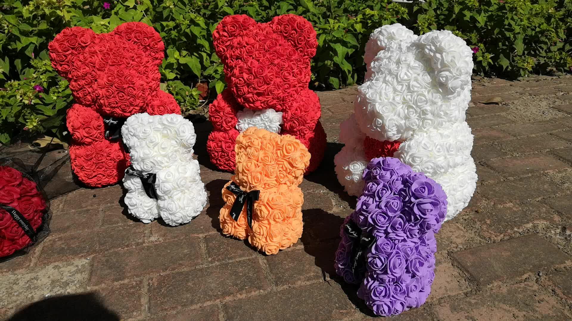 70cm  Forever Handmade Foam Rose Teddy bear /Valentine's day/girlfriend gift/artificial flowersbears/With heart rown or Bow