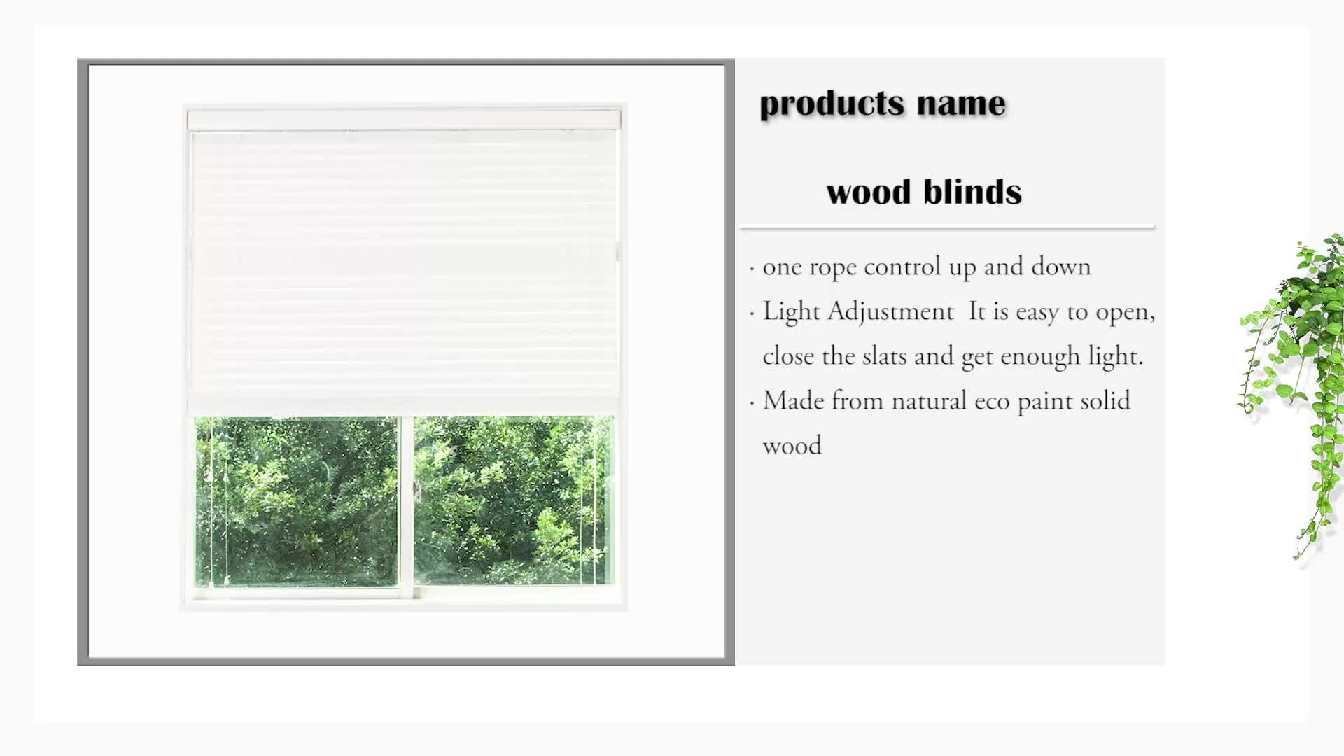 High quality popular sale pure white wood blind components 50 mm wood venetian blinds
