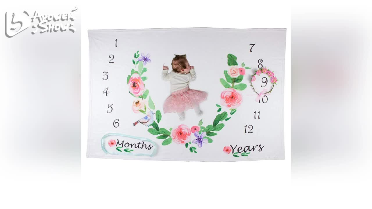 custom printing baby monthly milestone blanket for infant and new born photography