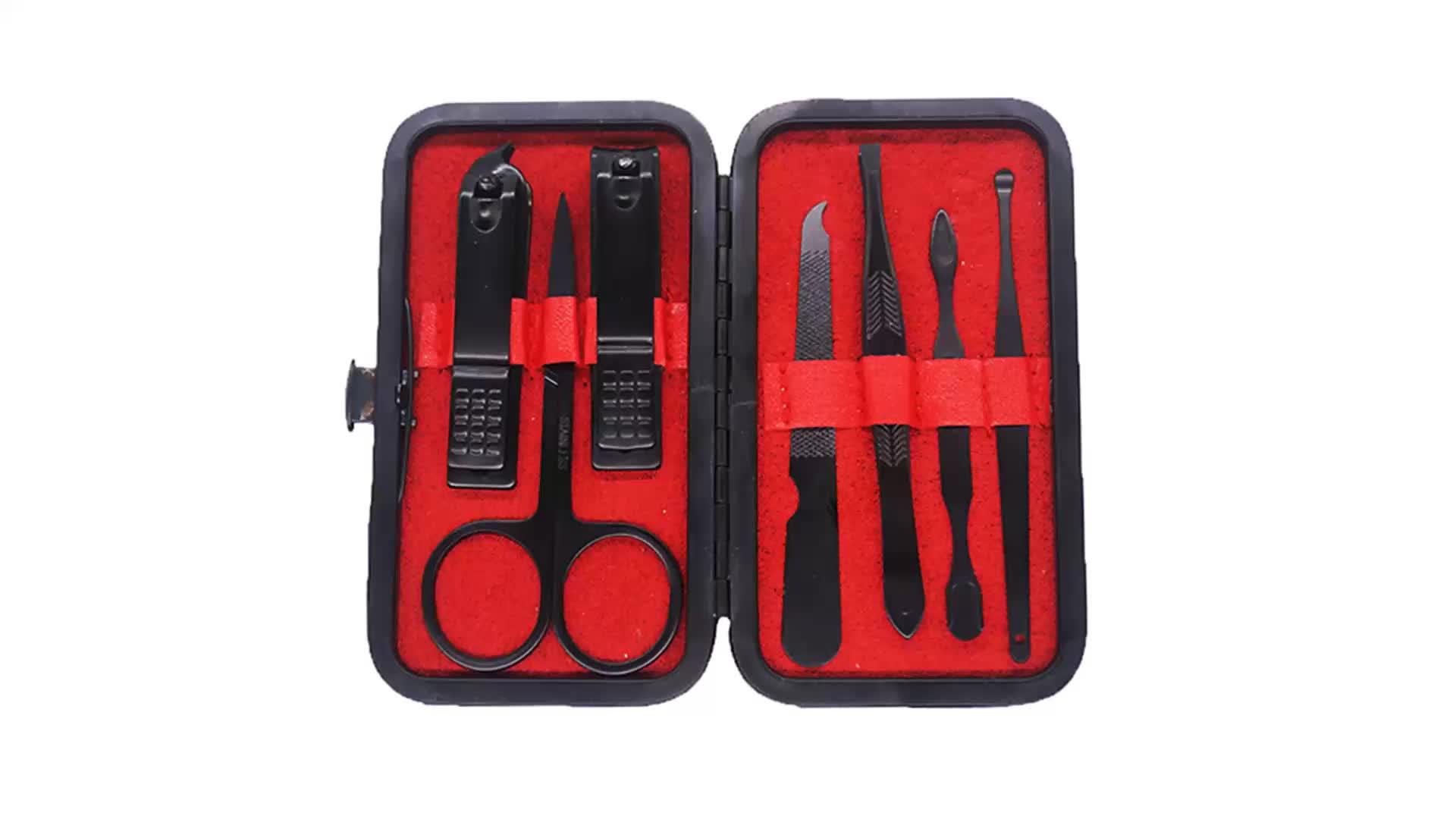 7 peças de aço inoxidável preto vermelho empurrador da cutícula do prego set clipper