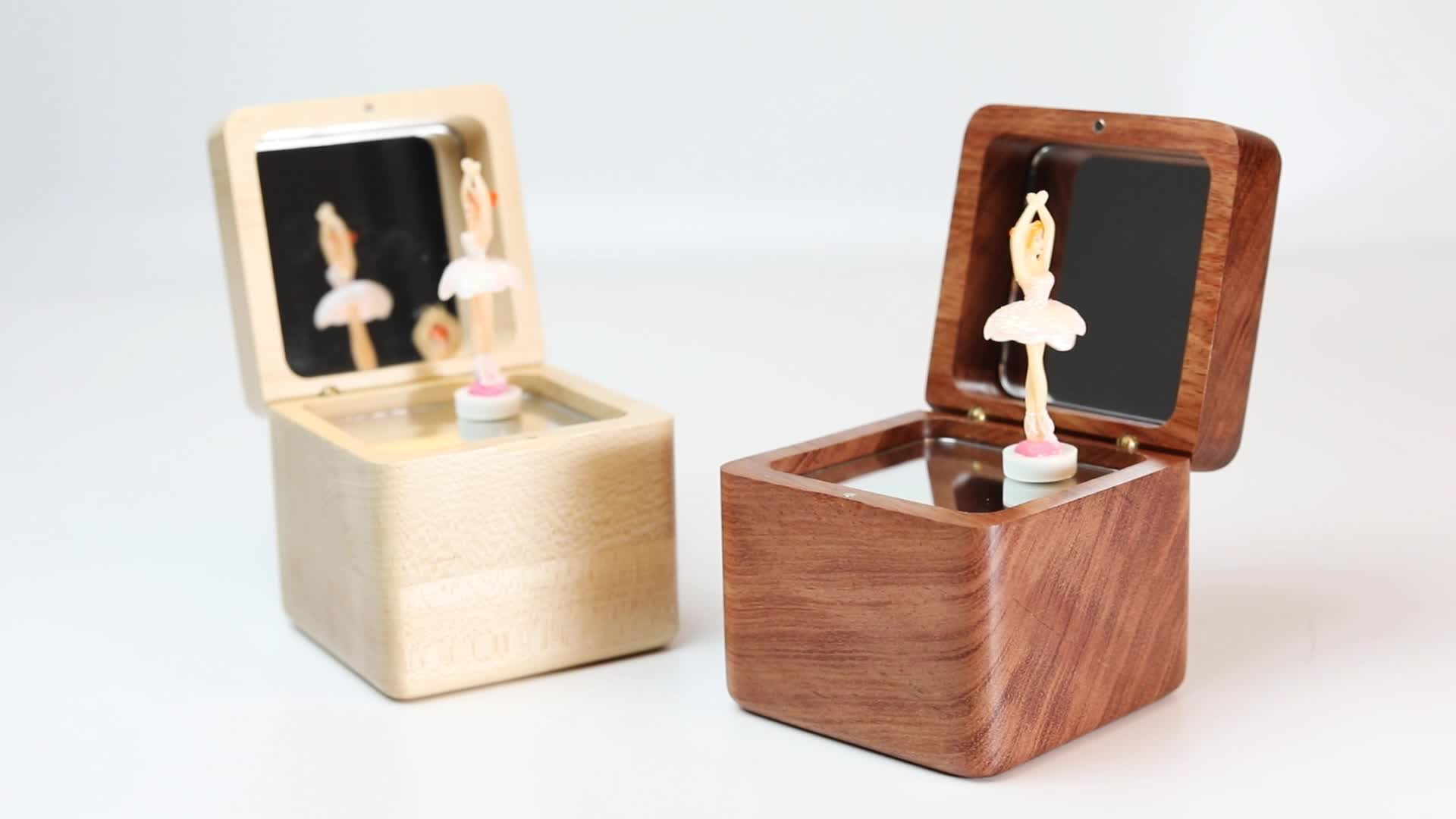 Crianças de madeira diy feliz aniversário balé caixa de música