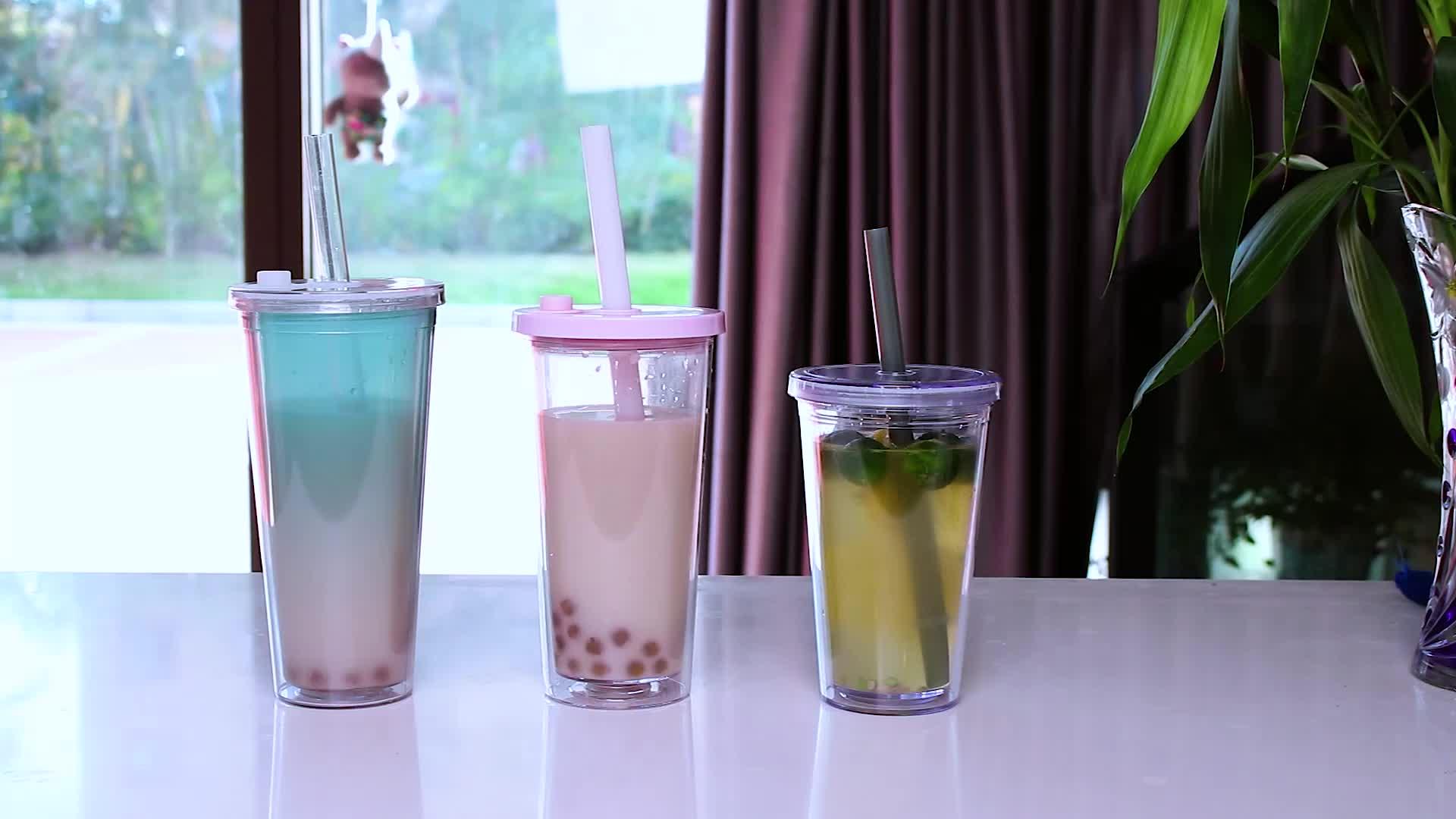 Custom 16/24/20 Oz Clear Acryl Melk Thee Plastic Tumbler Cups Herbruikbare Dubbele Muur Bubble Thee Tumbler cups