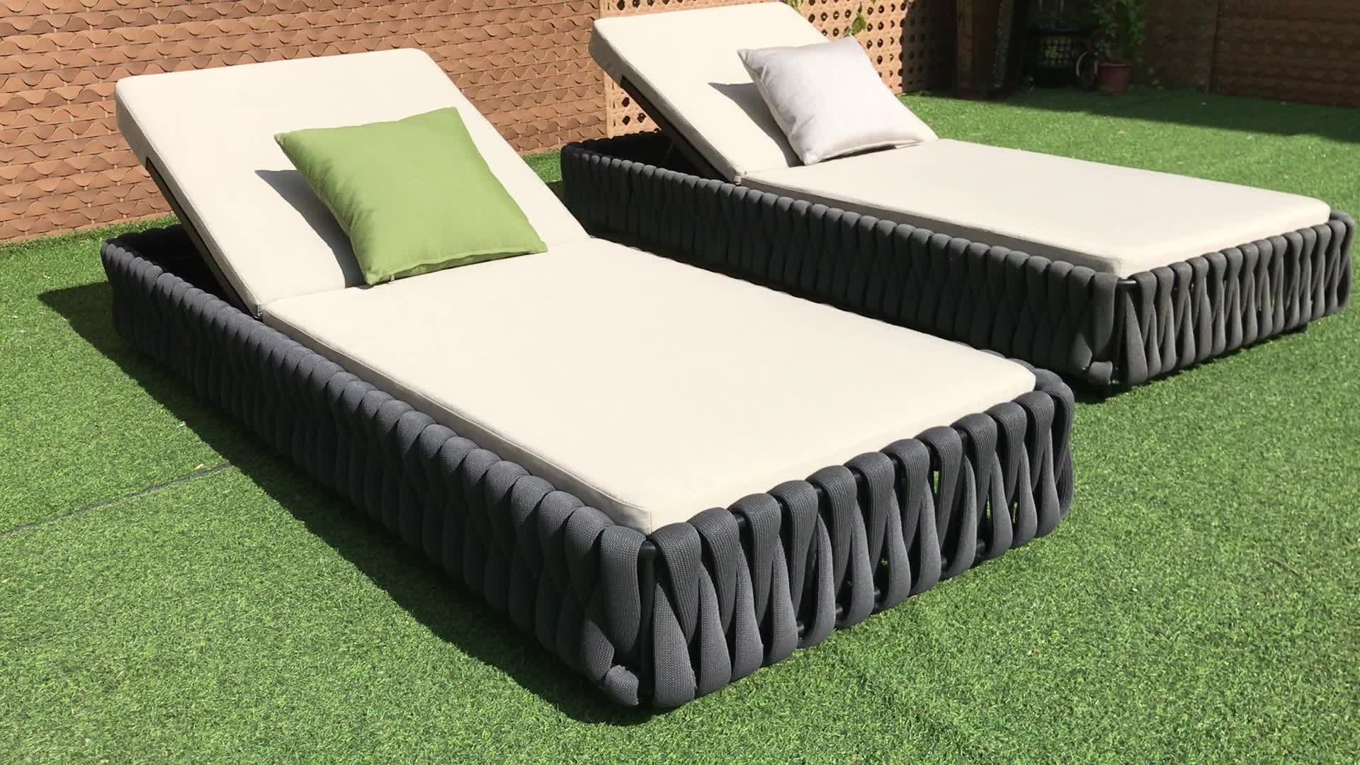 high quality garden lounger hotel outdoor furniture Swimming pool sun bed  rope woven outdoor sun lounger