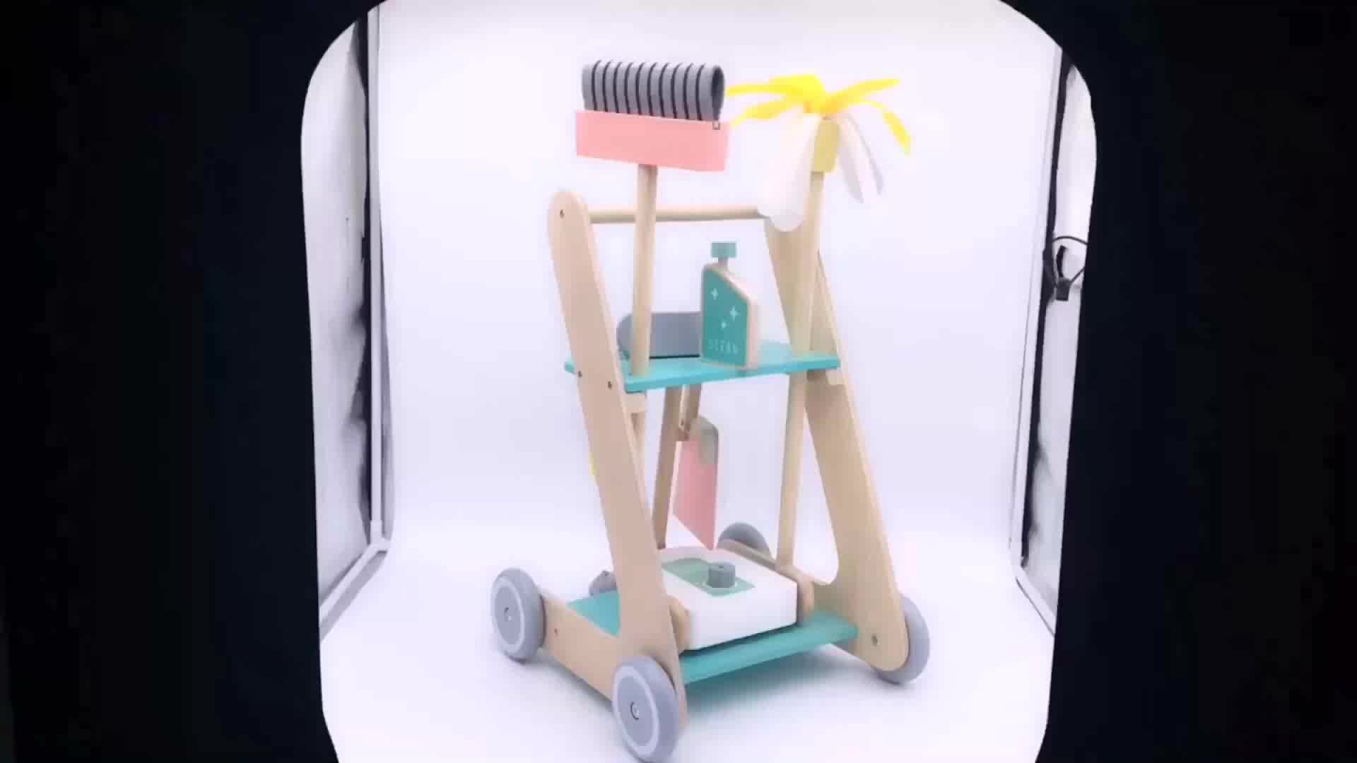 New arrival kids pretend play wooden toy cleaning set with broom W10D194