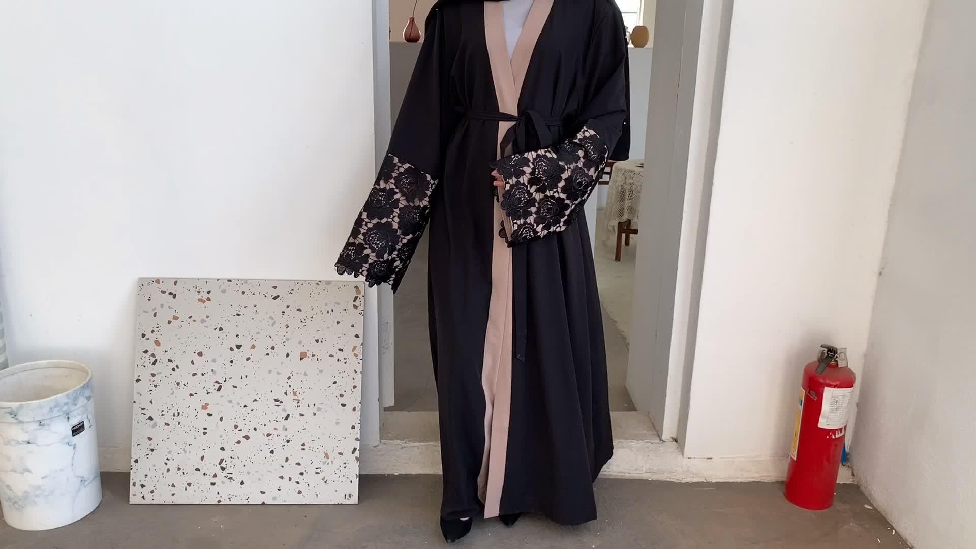 1502 #2020 Desain Baru Terbaru Kardigan Bordir Pakaian Islami Mode Kimono Terbuka Depan Gaya Arab Dubai Muslim Abaya