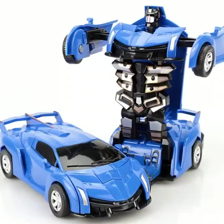 Anime Inertia ABS Plastic Toy Vehicles Kids Collision Transforming Robot Diecast Model Car for Children Gift