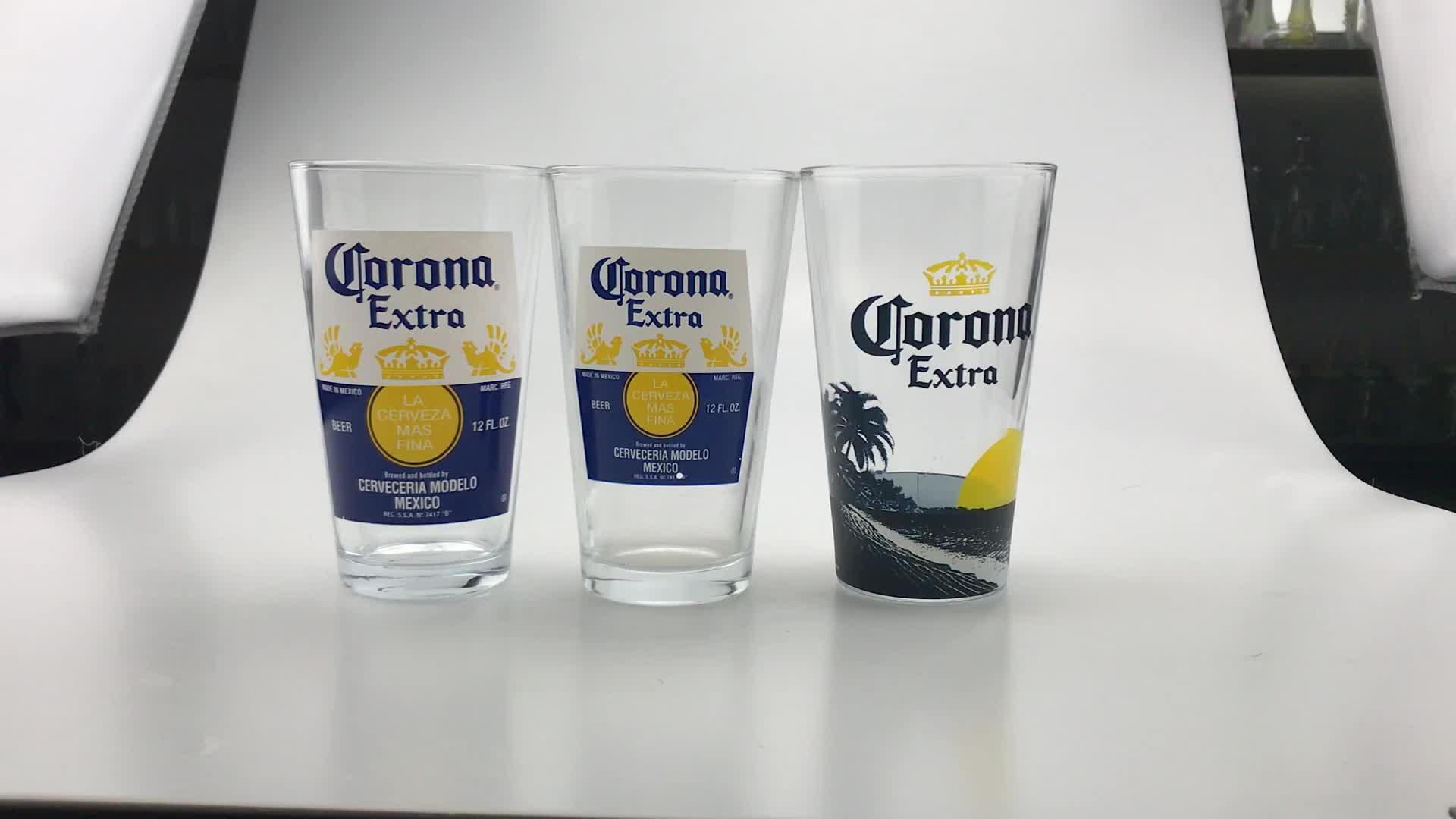 Vaso de cerveza impresa de vidrio de pinta de marca personalizada