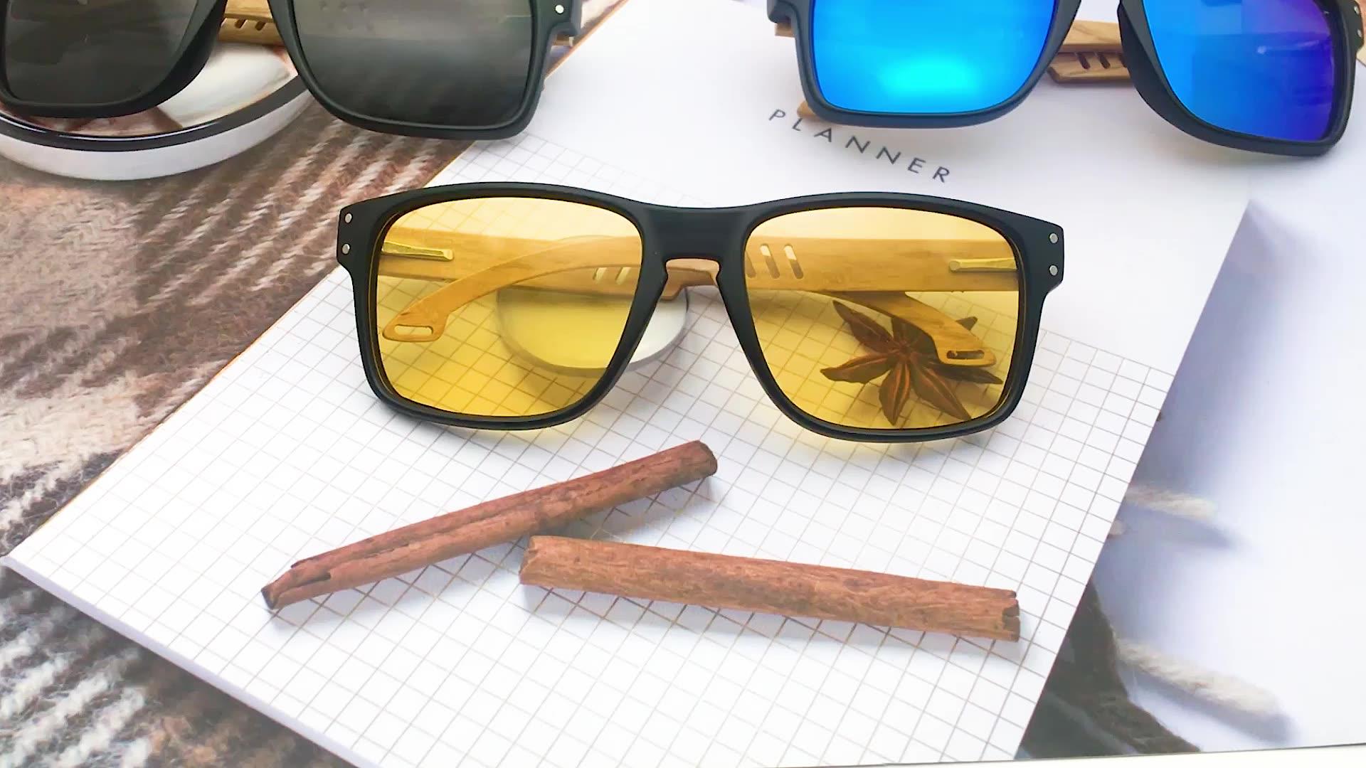 LS5026 thiết kế thời trang tùy chỉnh uv400 kính mặt trời kính PC khung bằng gỗ tre những ngôi đền kính mát 2019