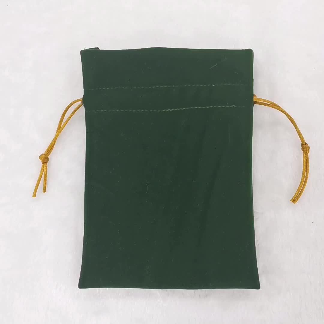 Custom luxury green small women velvet jewellery pouch candy perfume travel dust remove velvet drawstring bag with logo