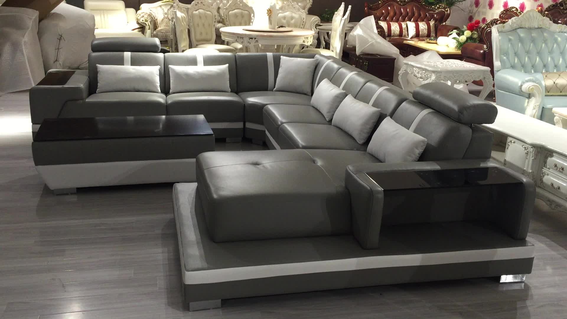 Alibaba Big White Leather New Design Corner Sofa Modern