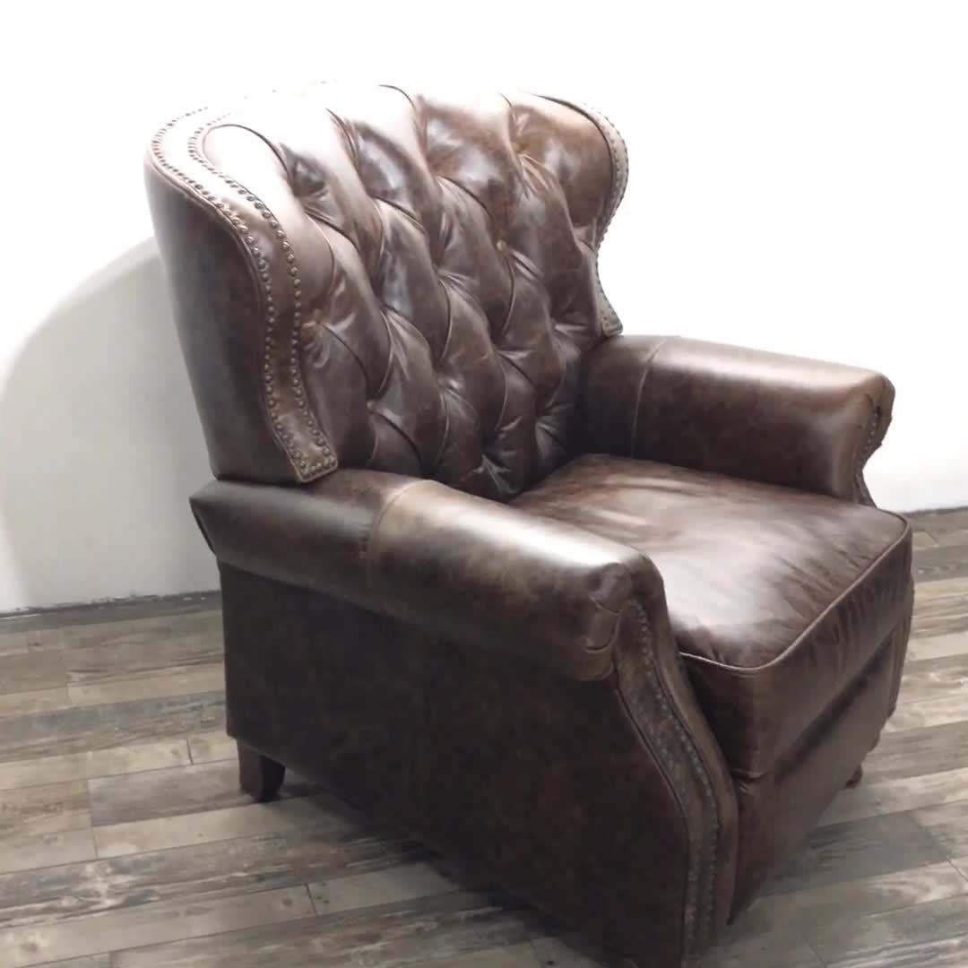 Luxury Leather Chesterfield Traditional Recliner Sofa For