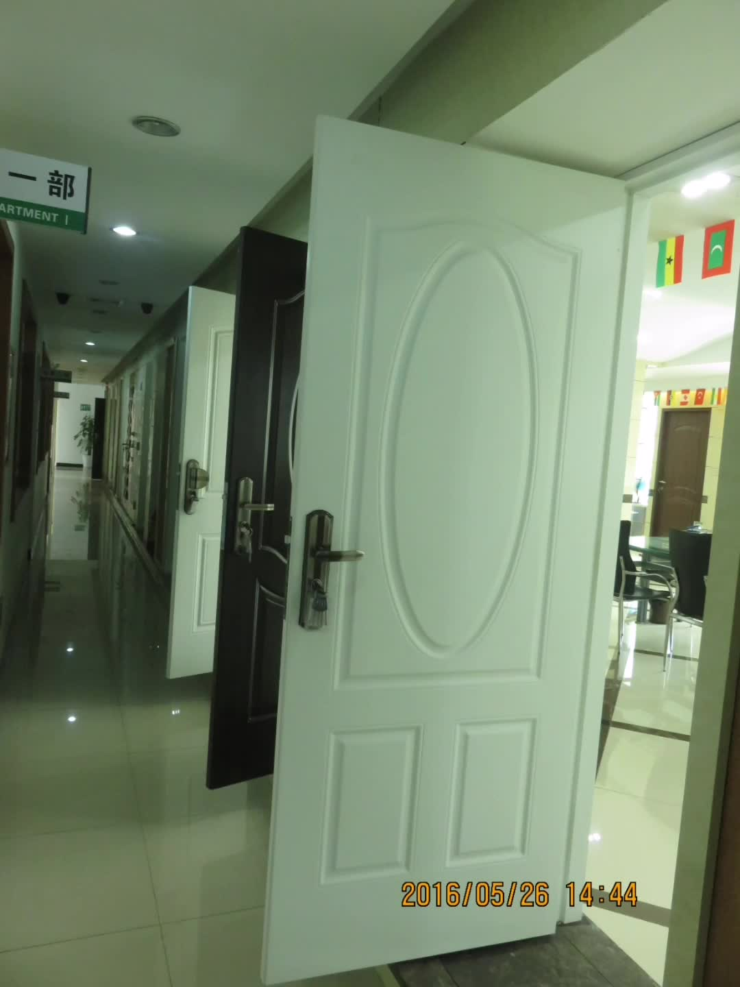 Flush Steel Prehung Double Door With Oval Glass