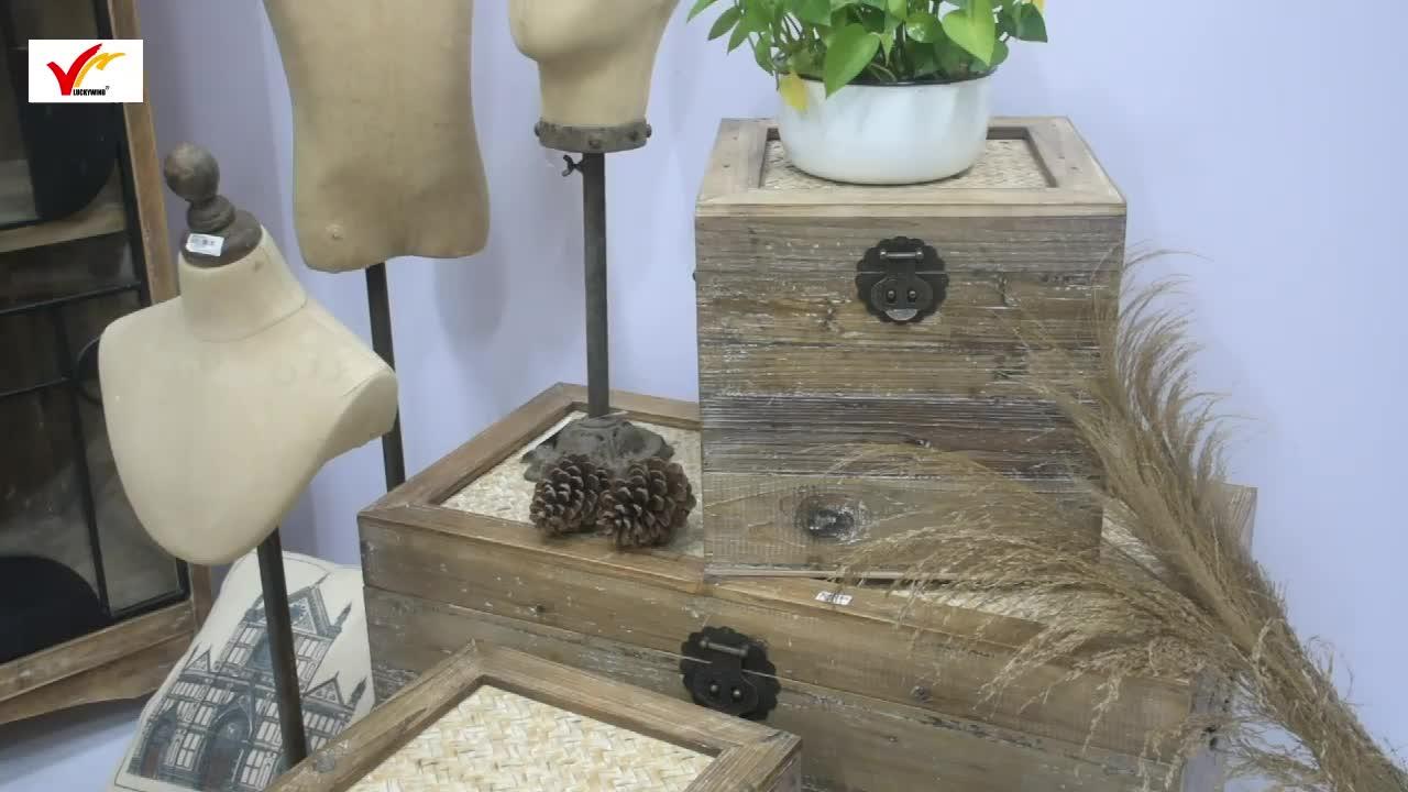 Set van 3 Vintage Boerderij houten Krat Kofferbak Doos, Rustieke Huis Goederen Houten Opslag Kofferbak Borst met Bamboe Top