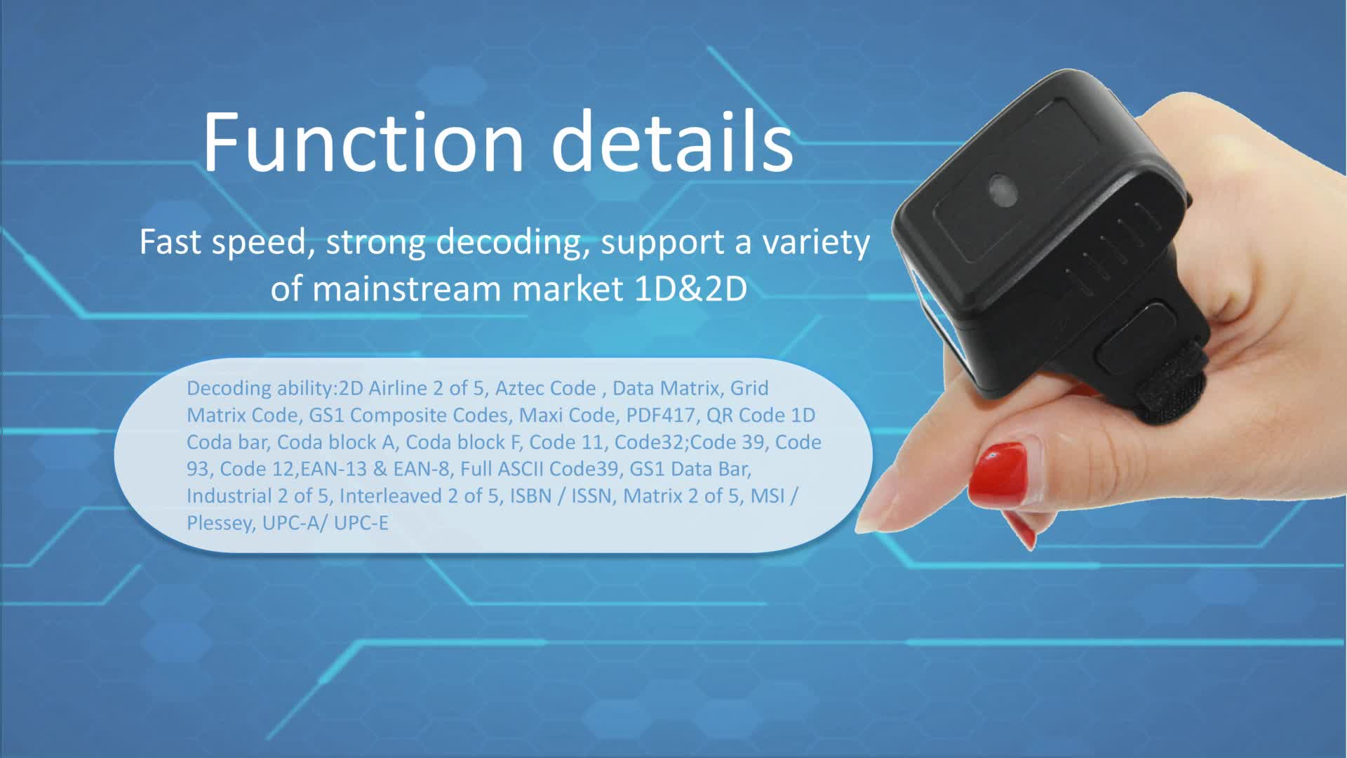 Wireless Mini QR Code Wearable Ring Bluetooth 2D Barcode Scanner With CMOS Video HS-S03