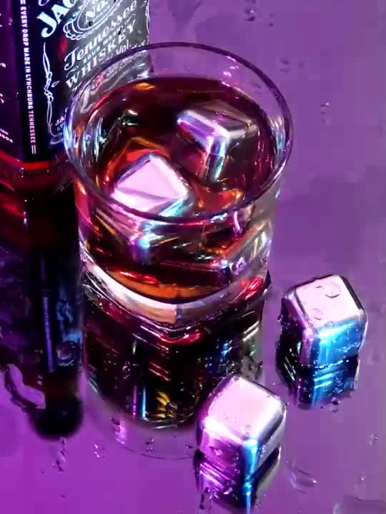 Stainless steel ice cube dice metal reusable ice whisky stone for cold drinking