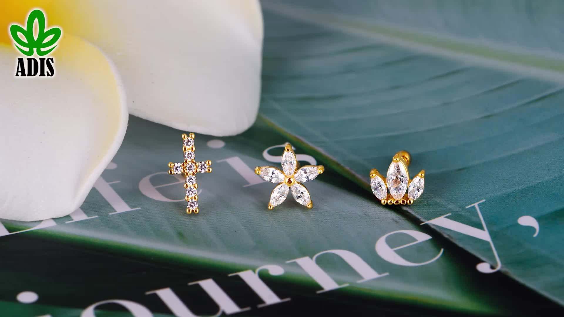 Best selling piercing jewelry crystal gold ear studs cartilage wholesale