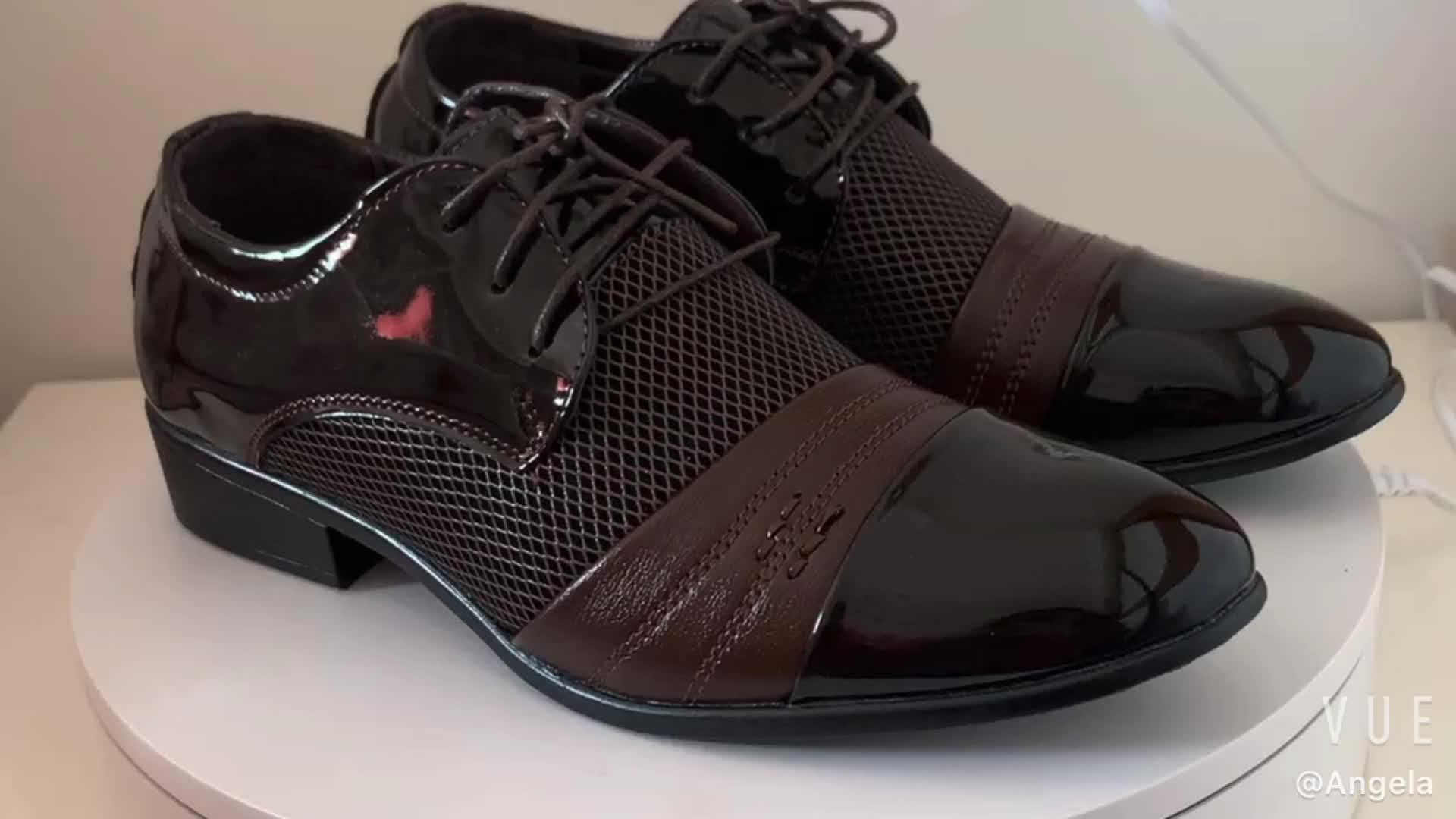 Sh10113aราคาถูกหุ้นหนังรองเท้าผู้ชายระบายอากาศกลวงออกชุดหนังชายรองเท้า