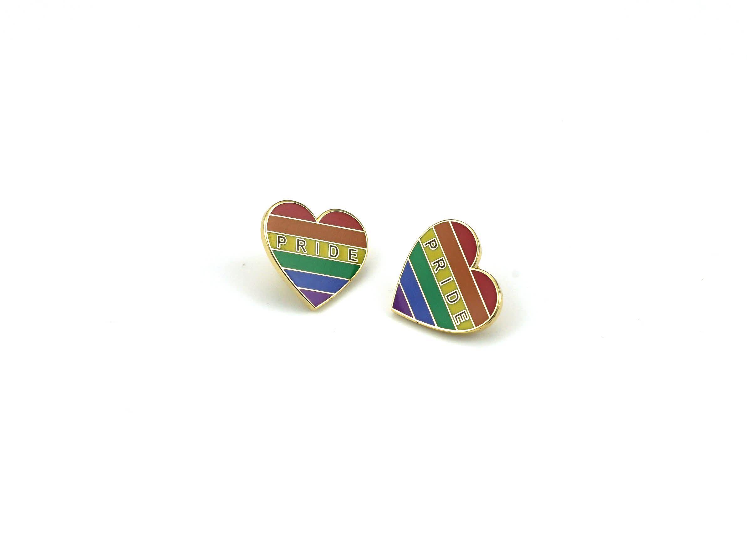 ที่กำหนดเองรูปหัวใจเรนโบว์นำฟรีทองเหลืองเคลือบตรา Pin ปกสำหรับเกย์ภูมิใจเหตุการณ์