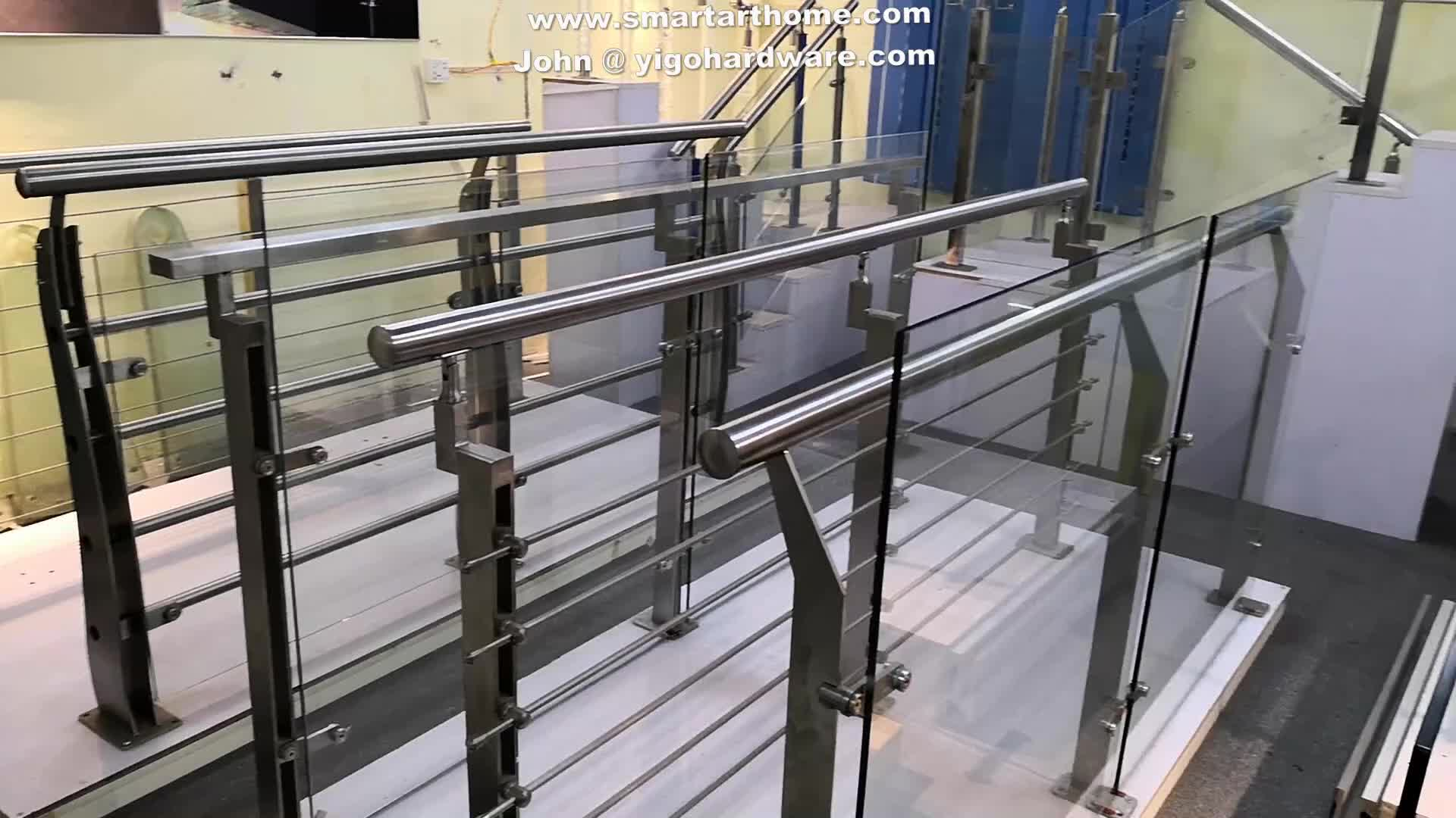 Customized glass balcony railing with glass baluster low price