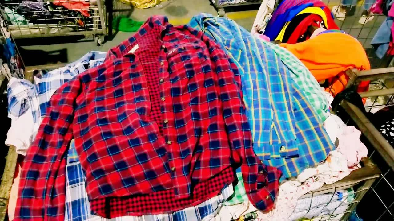 U-clothing Factory price bale used clothes wholesale Of FLANNEL SHIRT  second-hand clothing