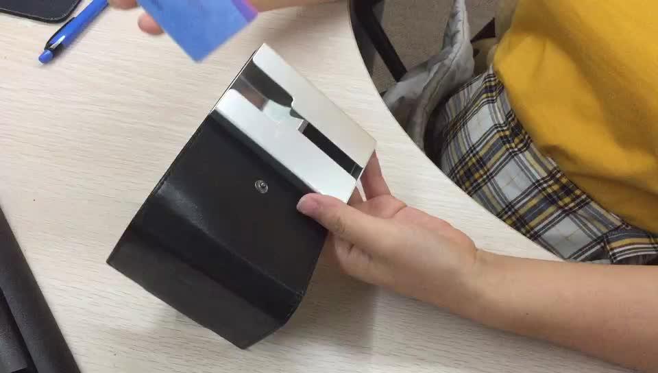 Fabrika özel kalıp 2 ton PU deri alüminyum RFID engelleme kredi kartı iş kart tutucu Bifold cüzdan