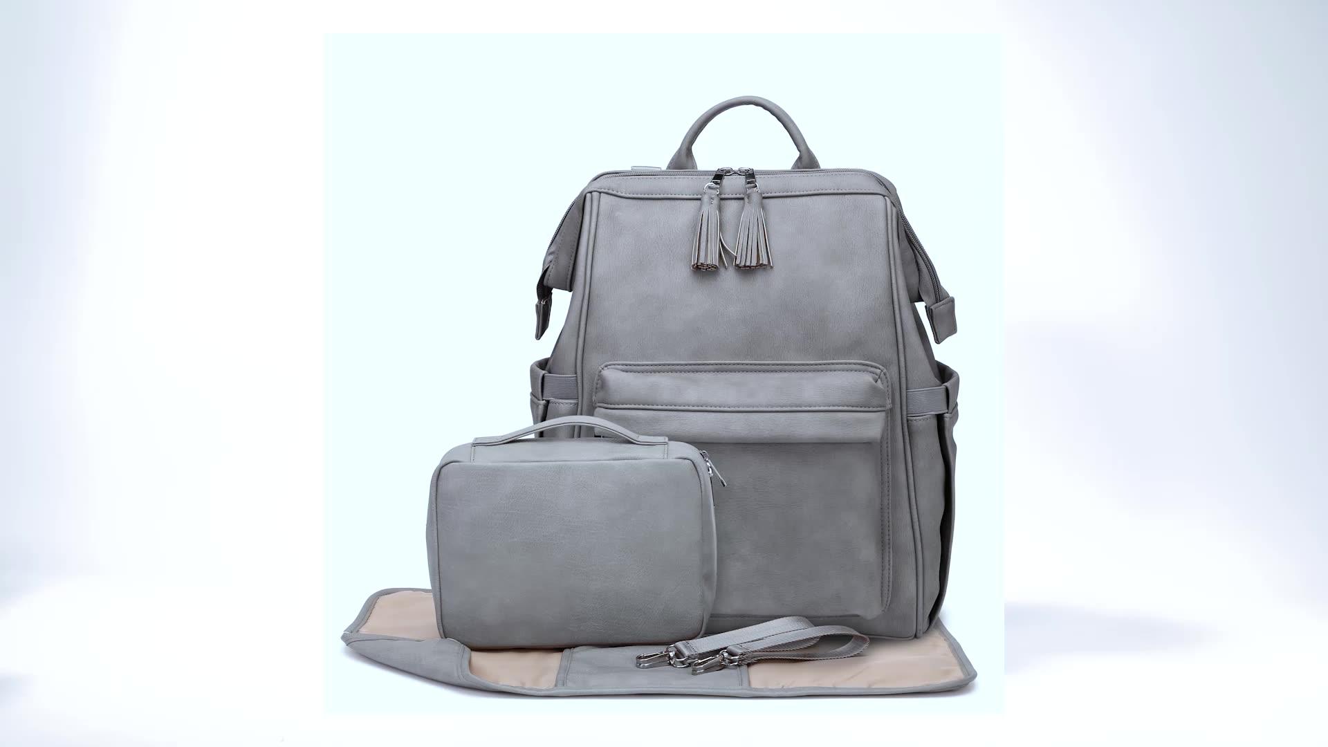 Lujo premium de cuero de la pu bolsa de pañales de bebé bolsa con aislamiento para mamá y papá. MOQ bajo de gran capacidad bolso de bebé