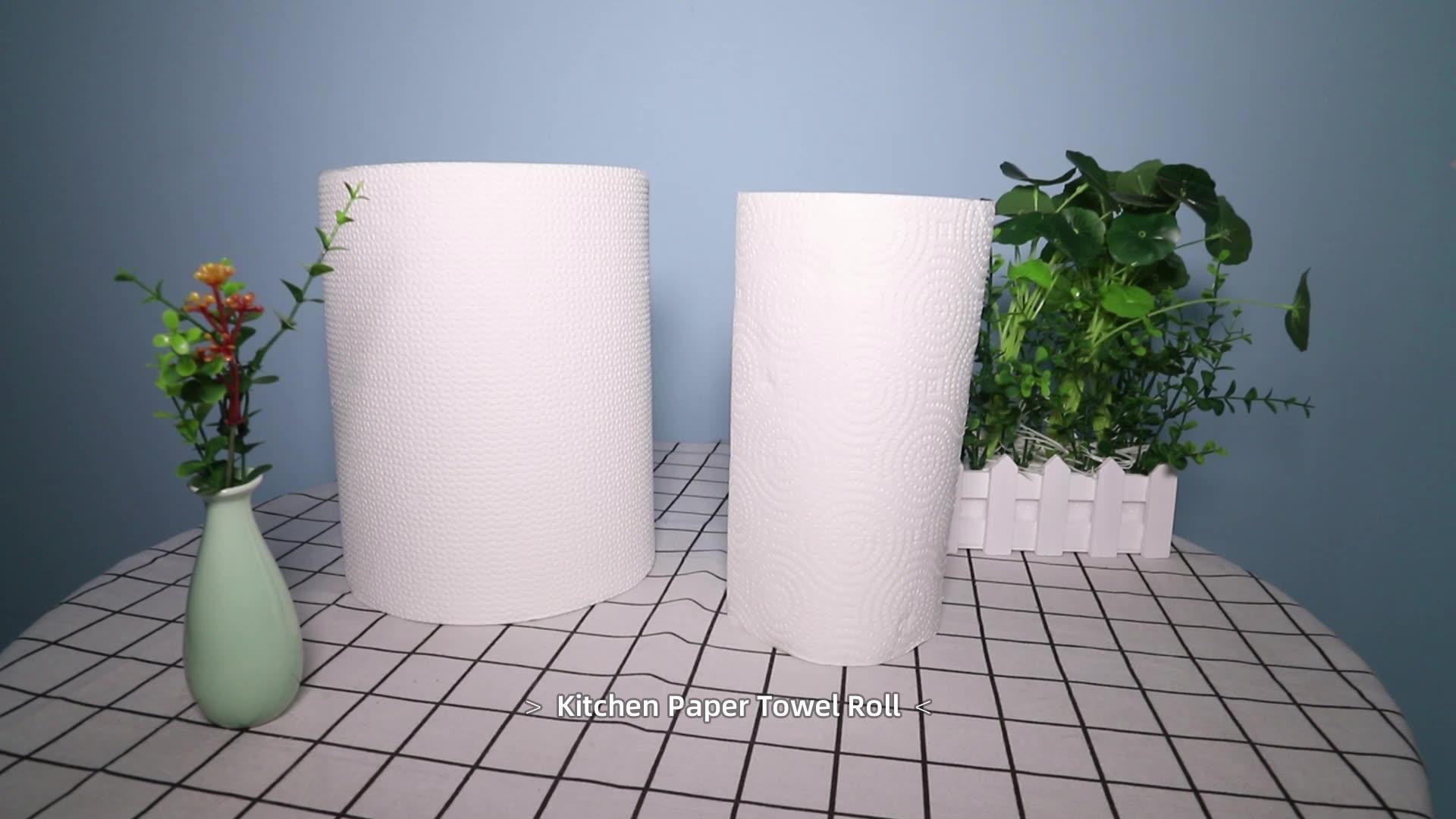 2 capas de diseño personalizado de la absorción de aceite de cocina toalla de papel rollo